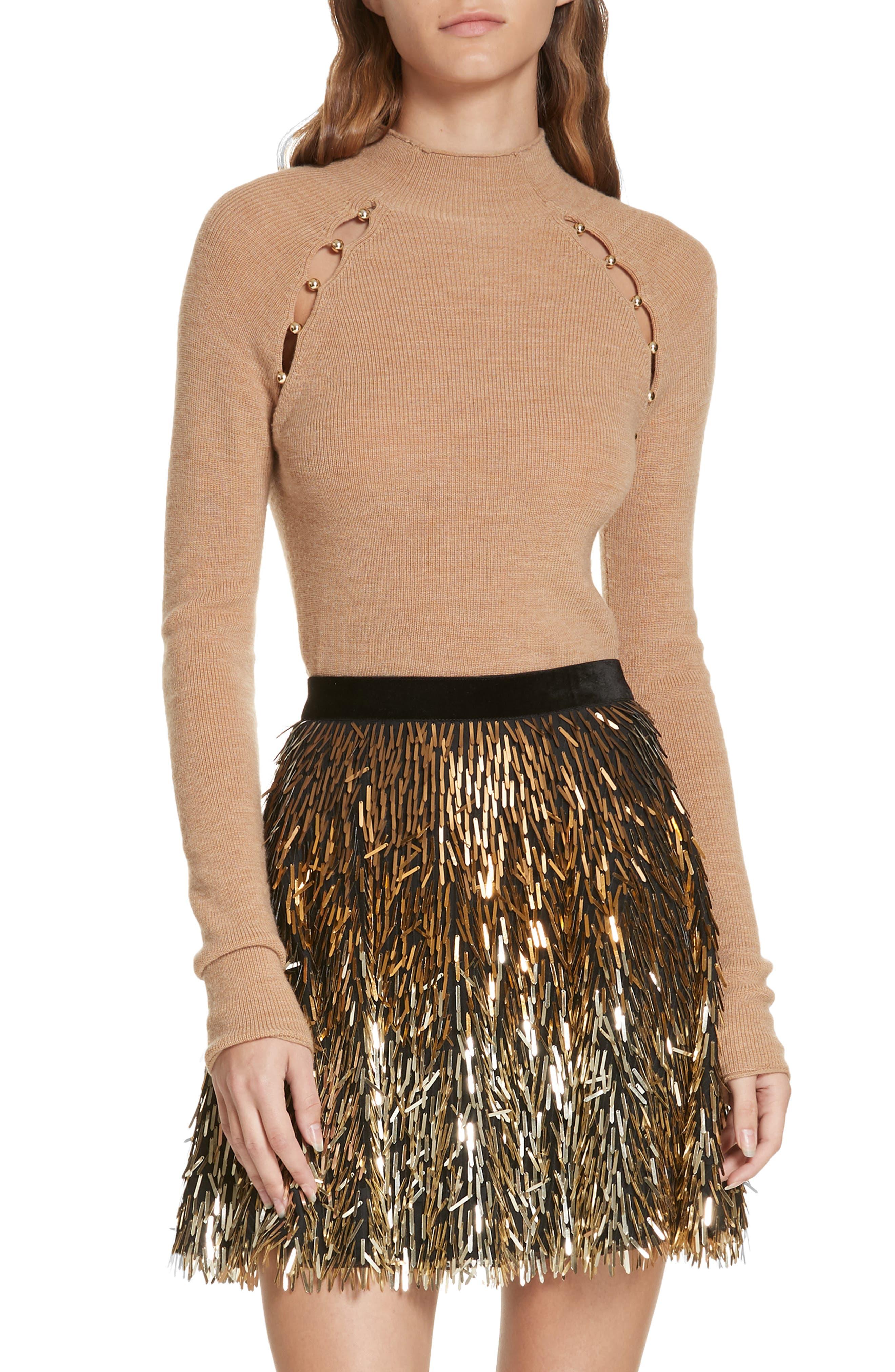 Alice+Olivia Slit Detail Sweater - Brown