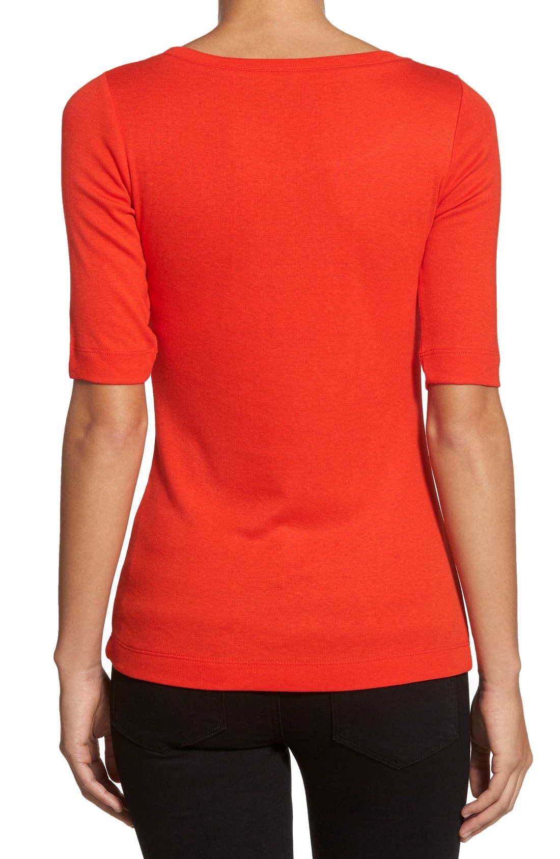 Ballet Neck Cotton & Modal Knit Elbow Sleeve Tee,                             Alternate thumbnail 204, color,