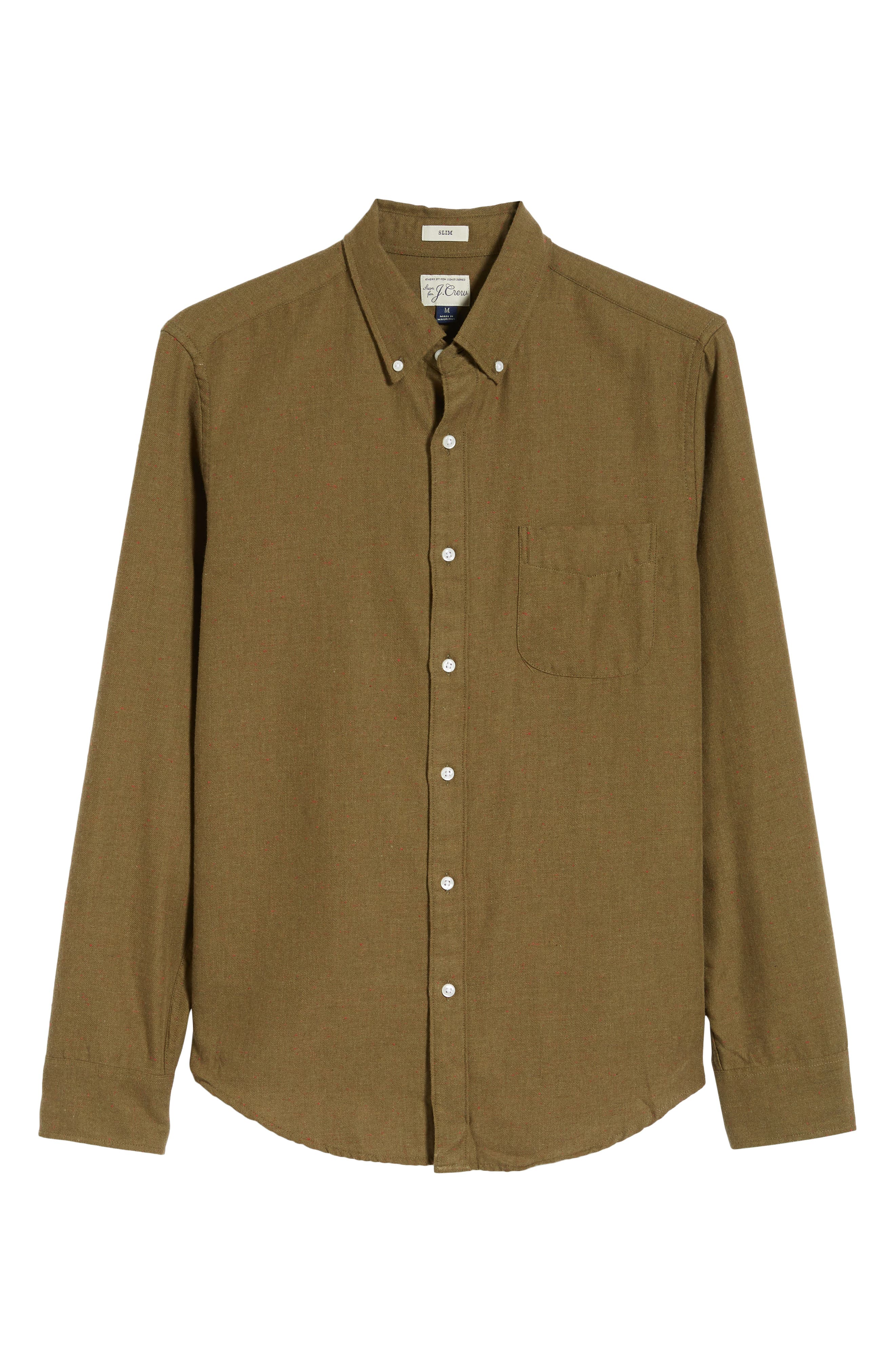 Slim Fit Neppy Twill Sport Shirt,                             Alternate thumbnail 5, color,                             SAFARI FATIGUE HEATHER