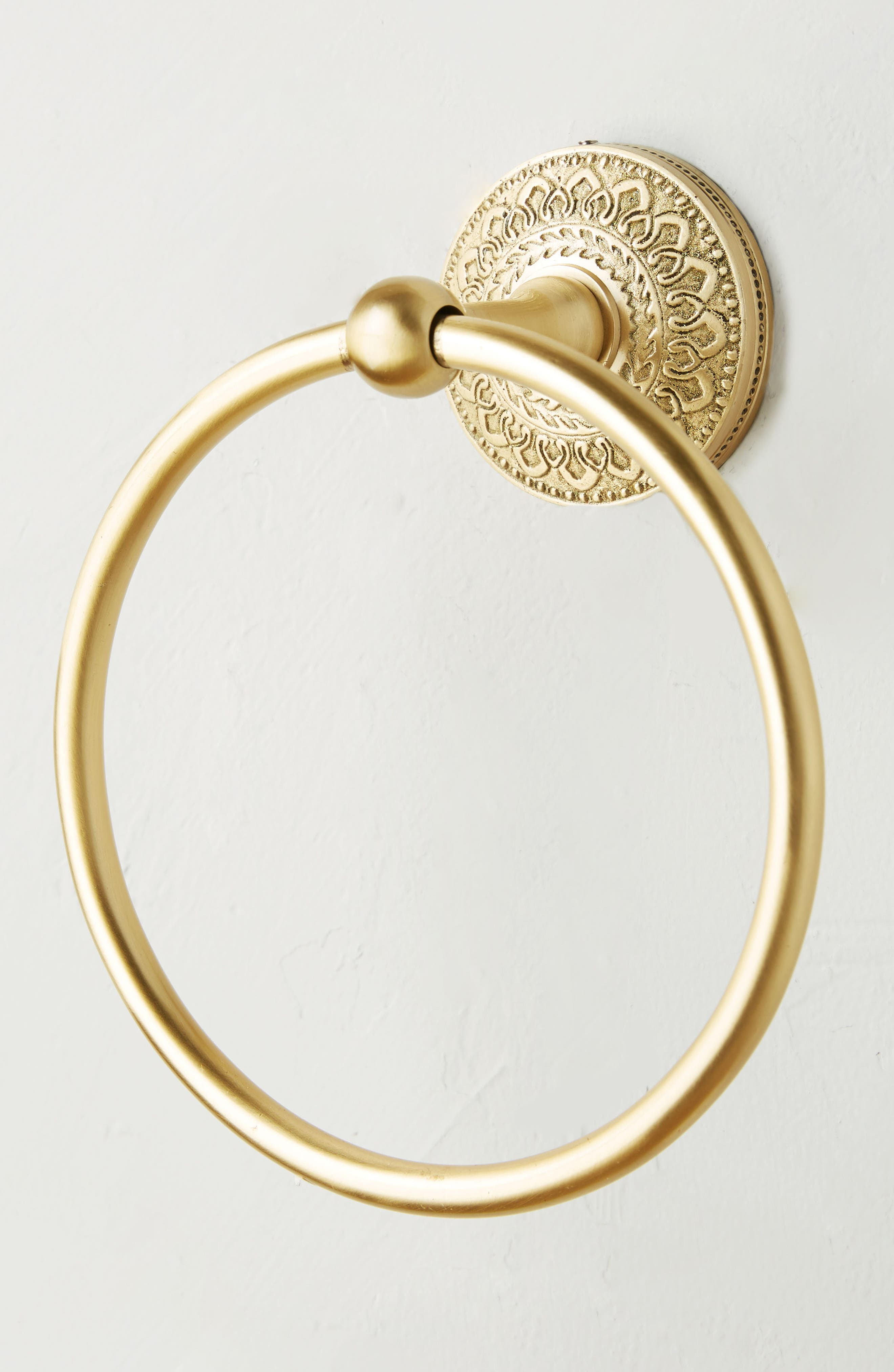 Brass Medallion Towel Ring,                             Alternate thumbnail 2, color,                             710