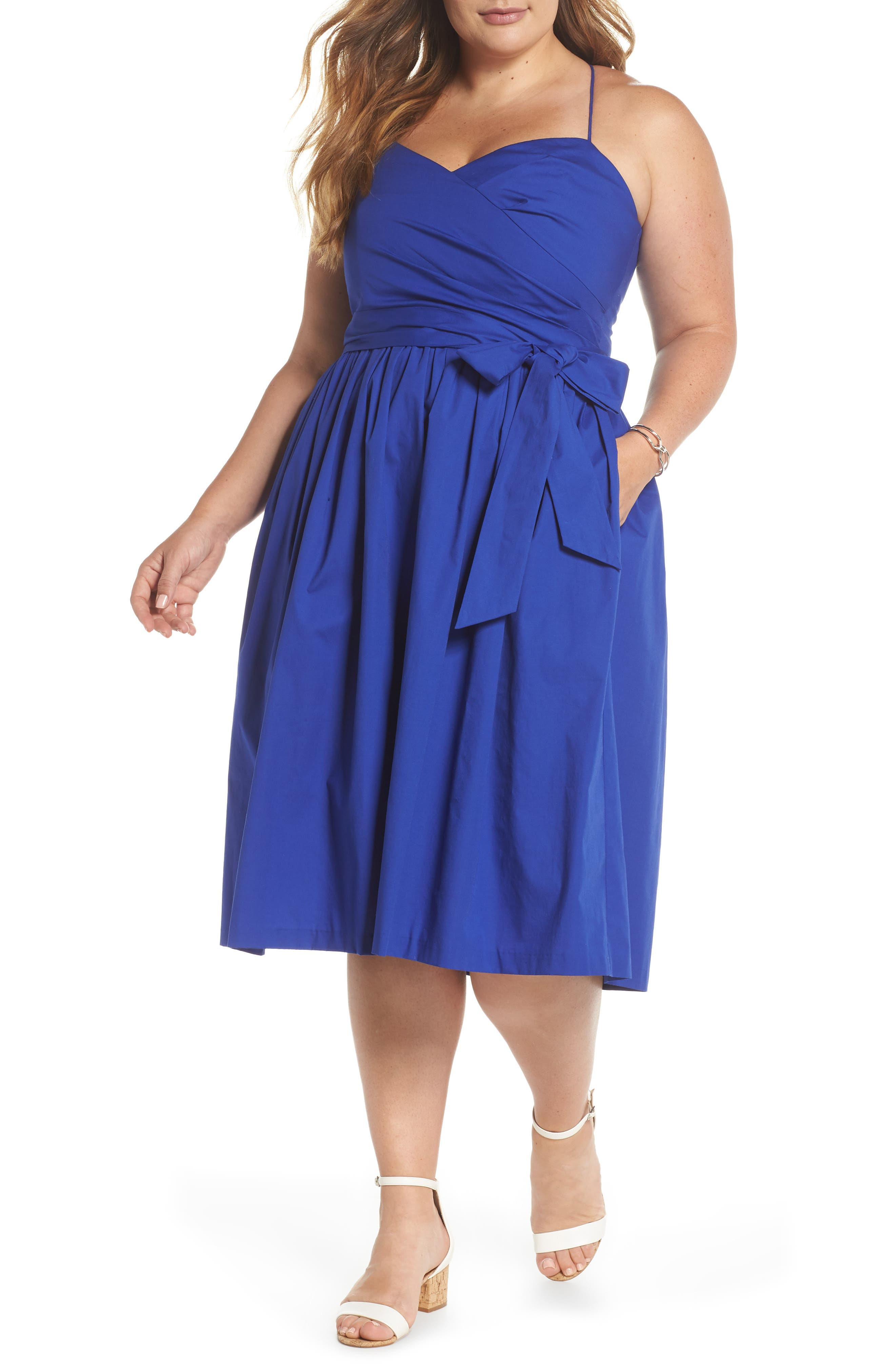 Strappy Fit & Flare Midi Dress,                             Main thumbnail 1, color,