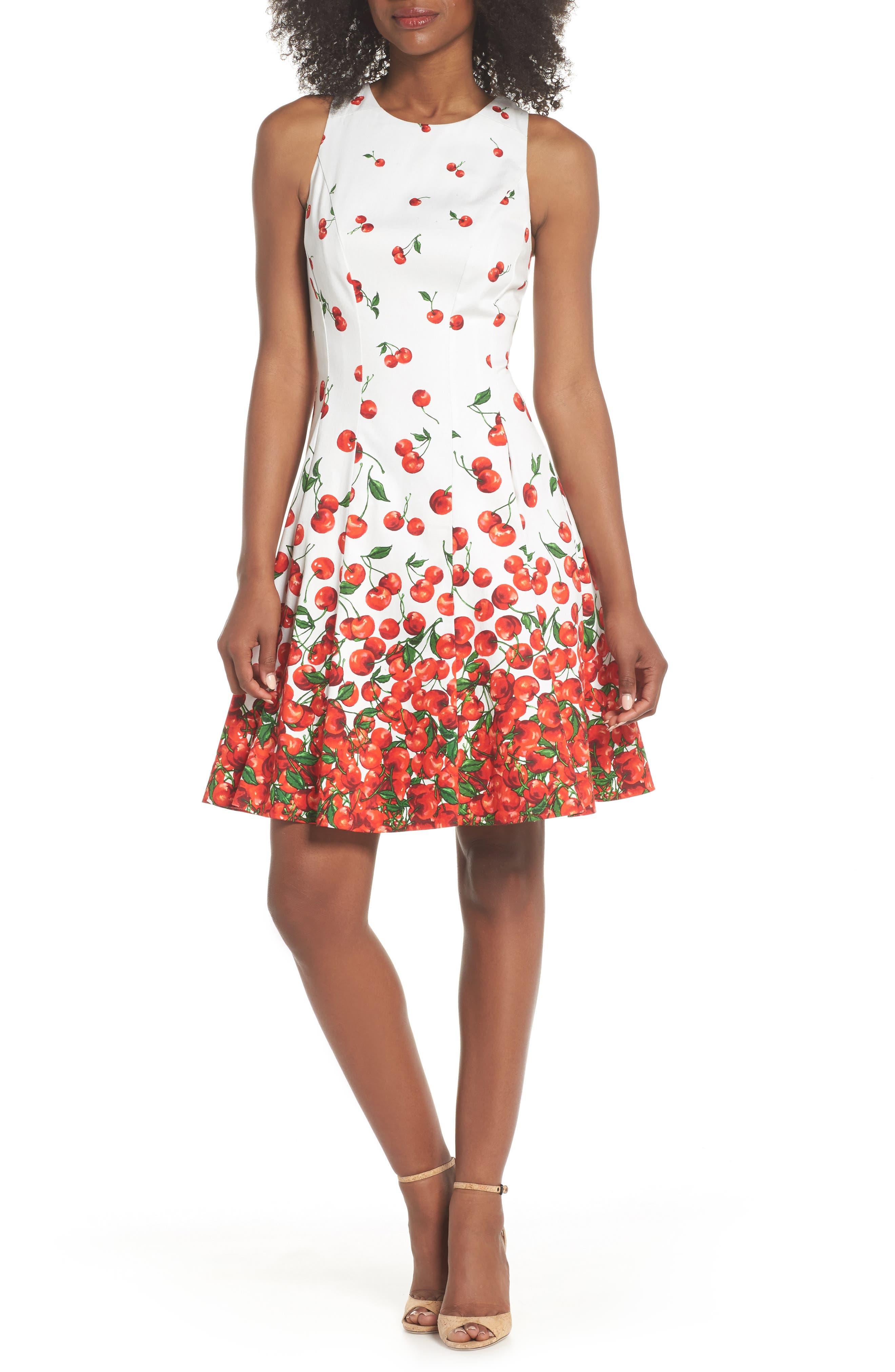 Print Fit & Flare Dress,                         Main,                         color, 143
