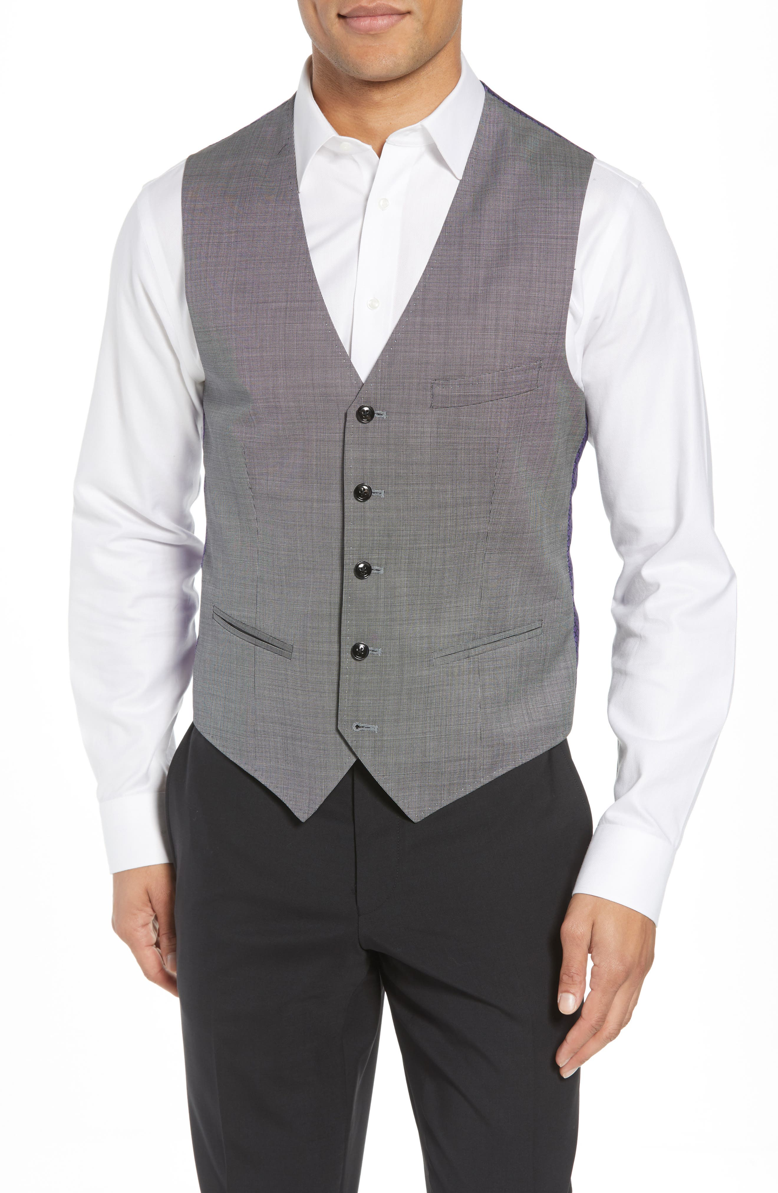 Troy Trim Fit Solid Wool Vest,                         Main,                         color, LIGHT GREY