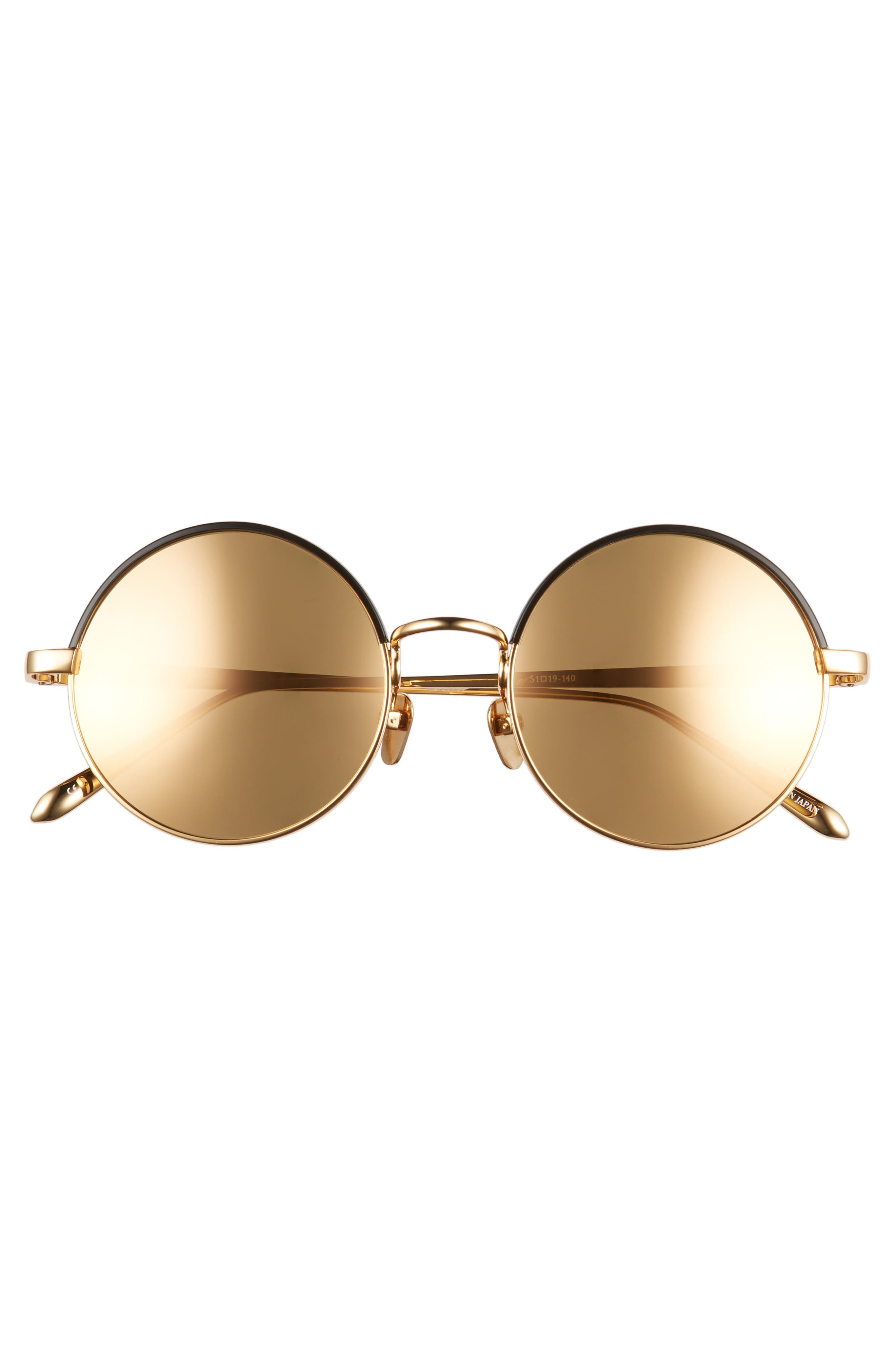51mm Mirrored 18 Karat Gold Trim Round Sunglasses,                             Alternate thumbnail 3, color,                             710