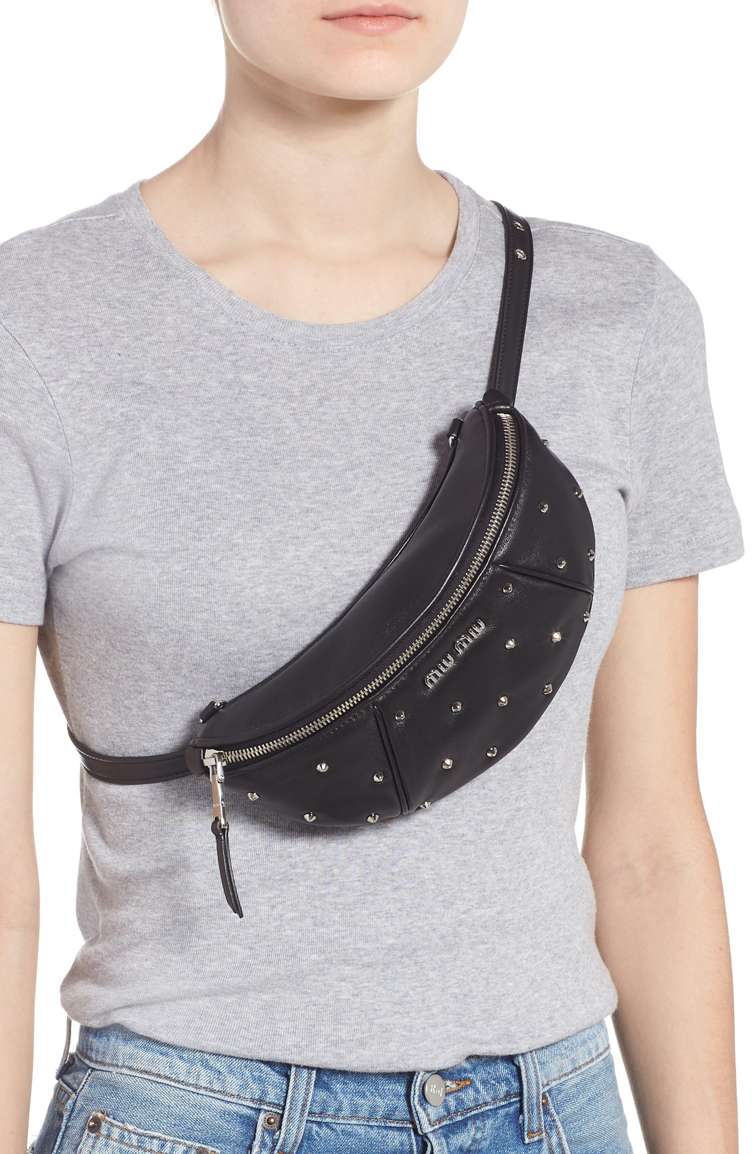 Studded Lambskin Leather Belt Bag,                             Alternate thumbnail 3, color,                             NERO