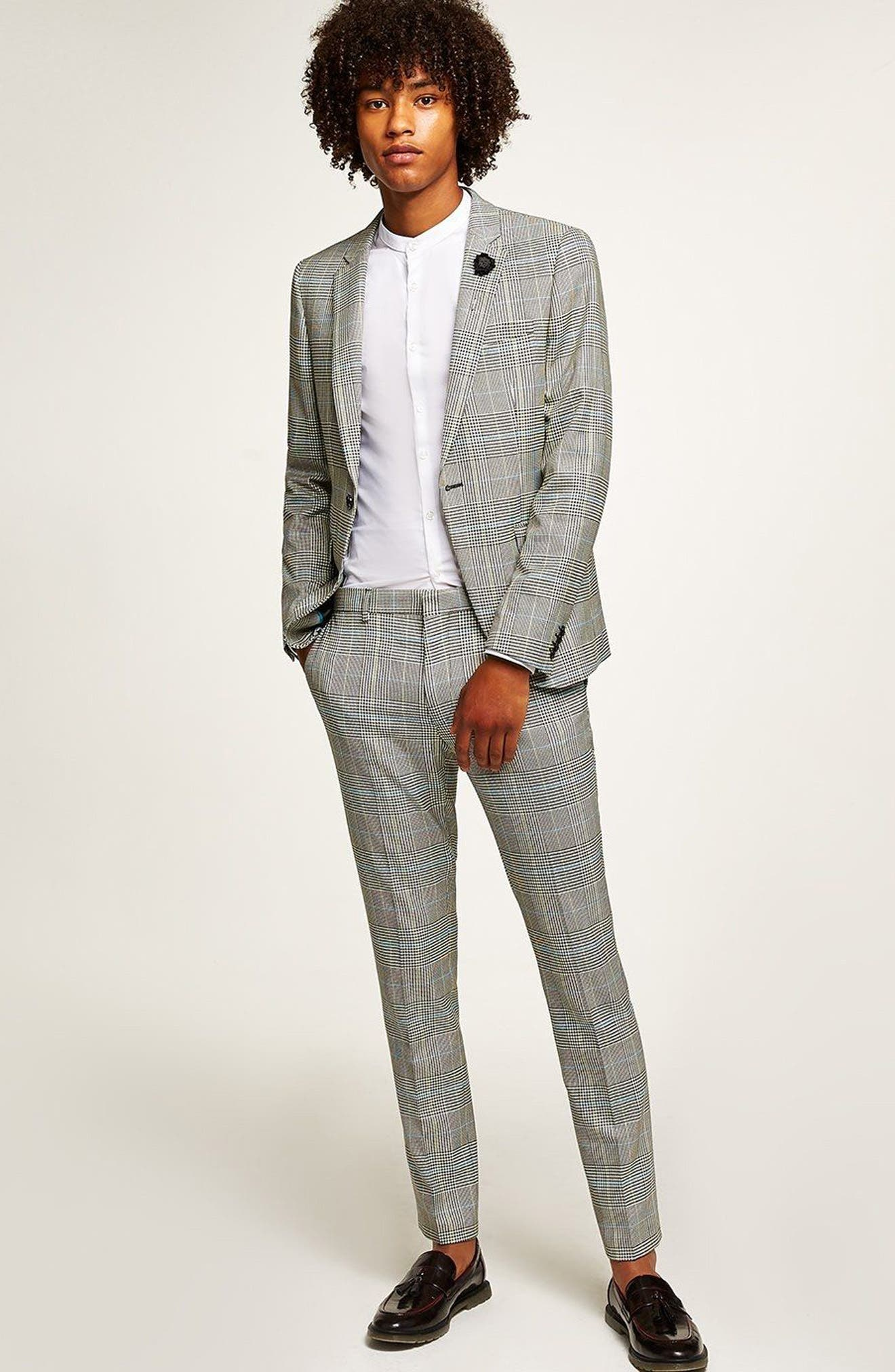 Skinny Fit Houndstooth Suit Trousers,                             Alternate thumbnail 5, color,                             GREY MULTI