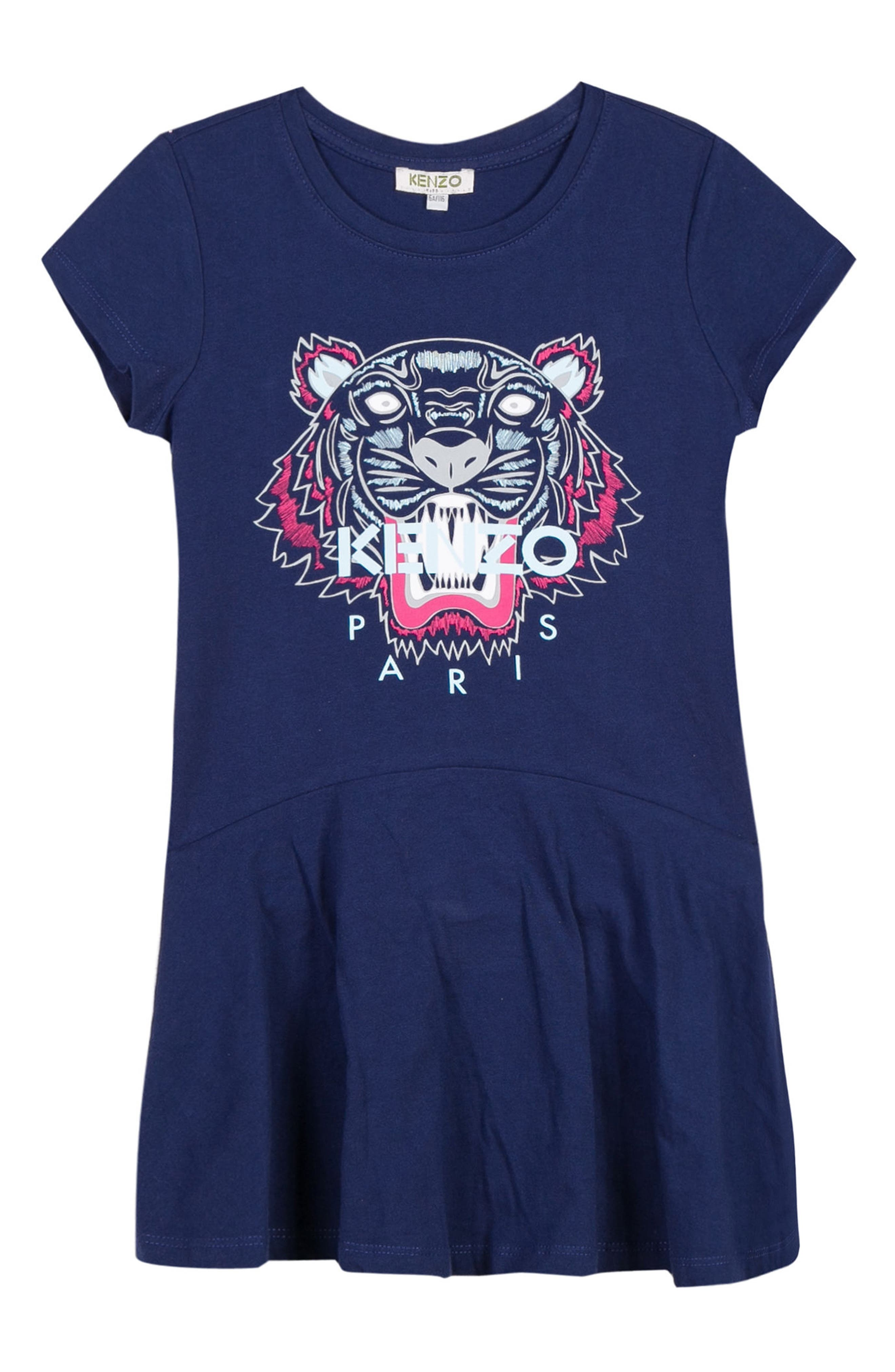 Tiger Graphic Skater Dress,                         Main,                         color, NAVY