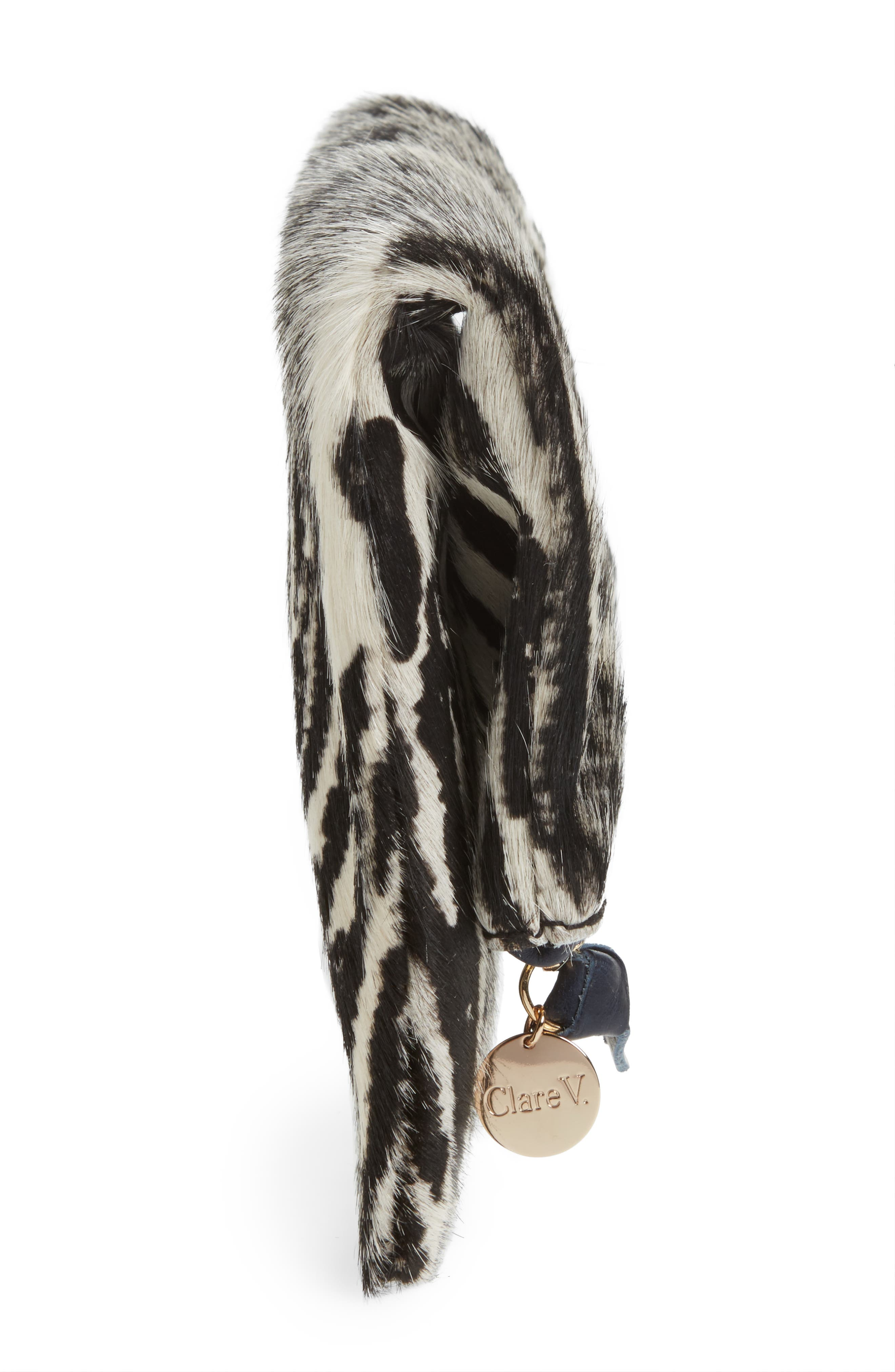 Zebra Print Genuine Calf Hair Foldover Clutch,                             Alternate thumbnail 5, color,                             900