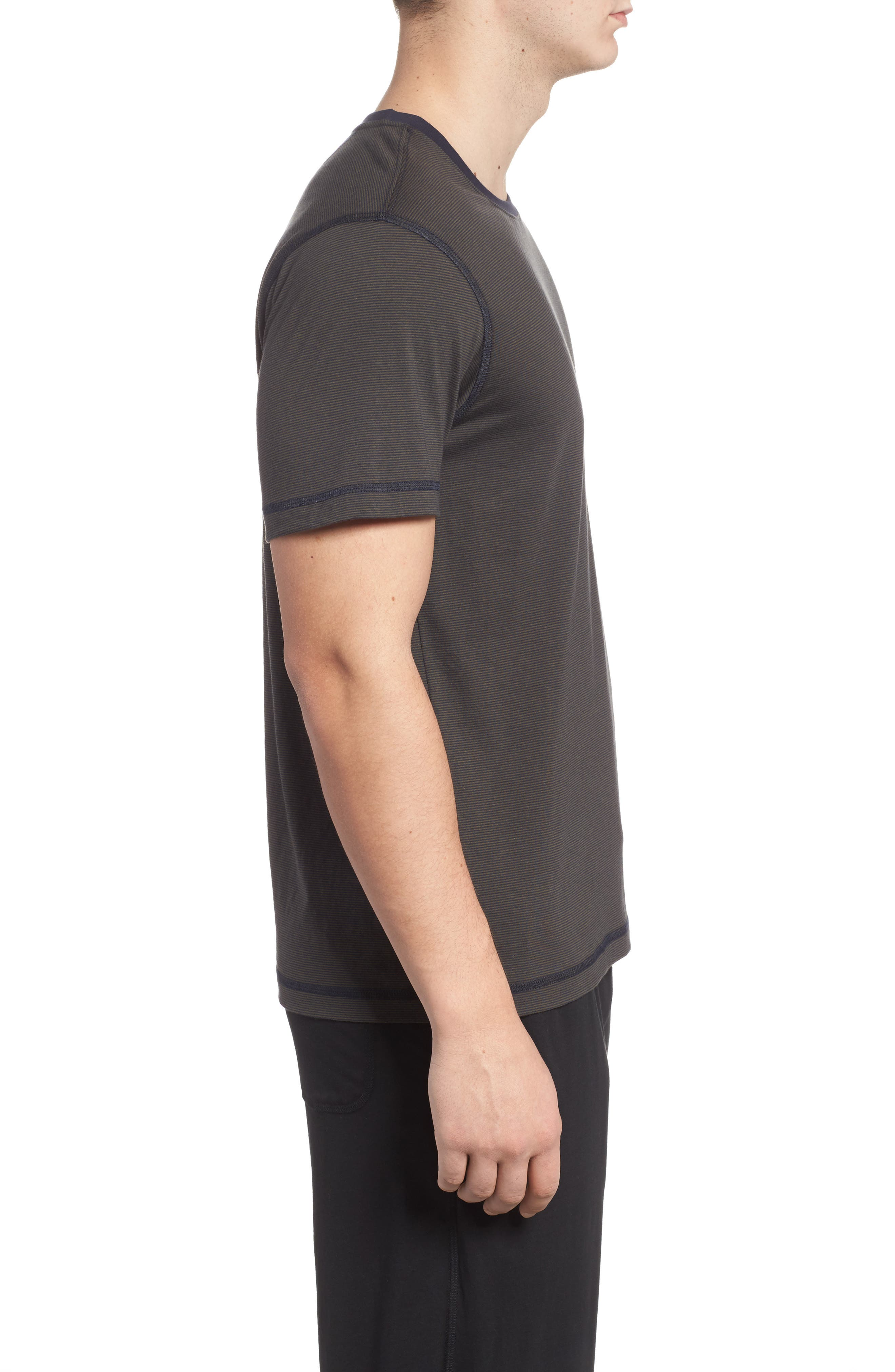 Peruvian Pima Cotton T-Shirt,                             Alternate thumbnail 3, color,                             ARMY/ MIDNIGHT STRIPE