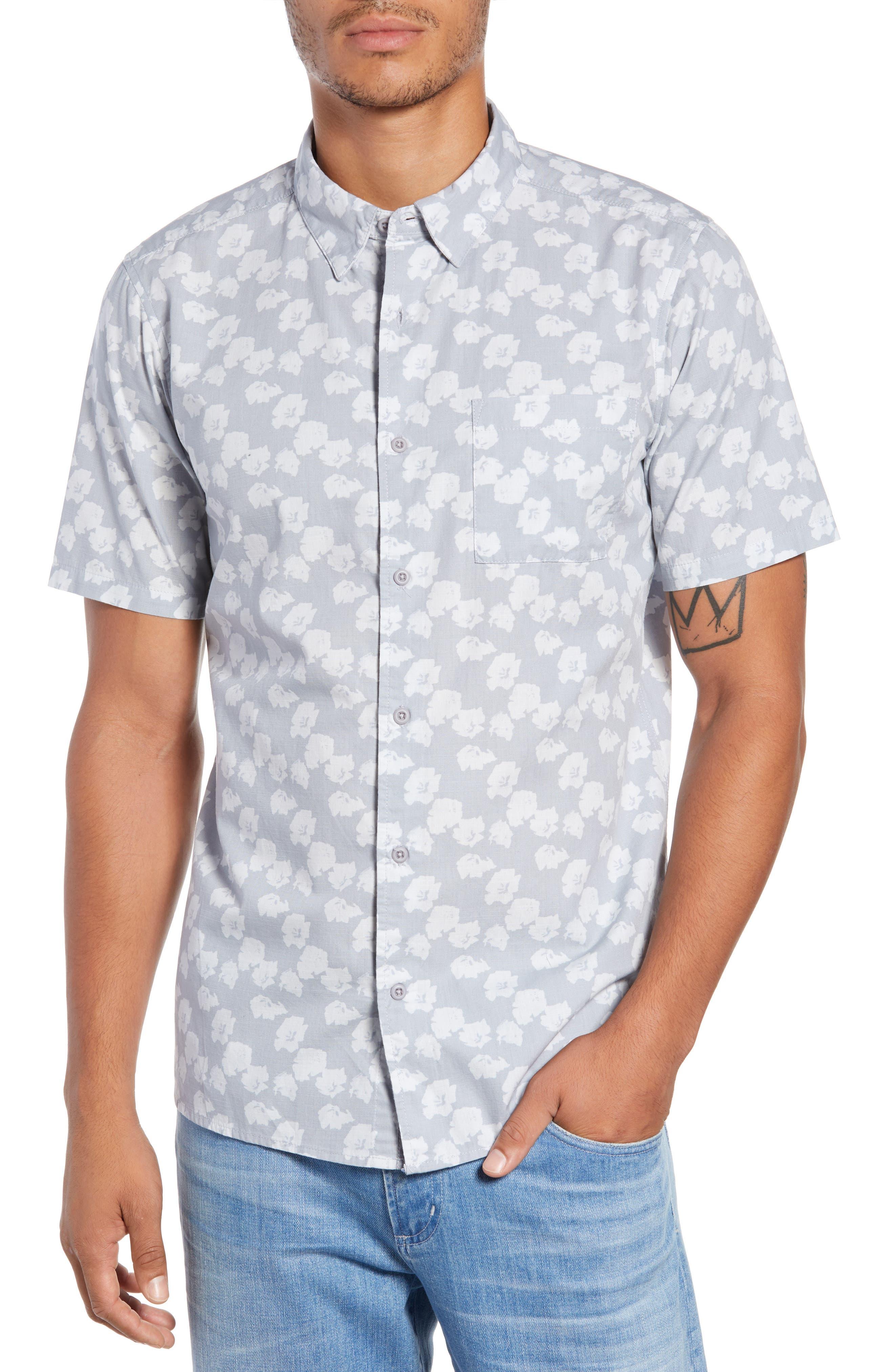 Beachside Swarm Print Woven Shirt,                         Main,                         color, WOLF GREY