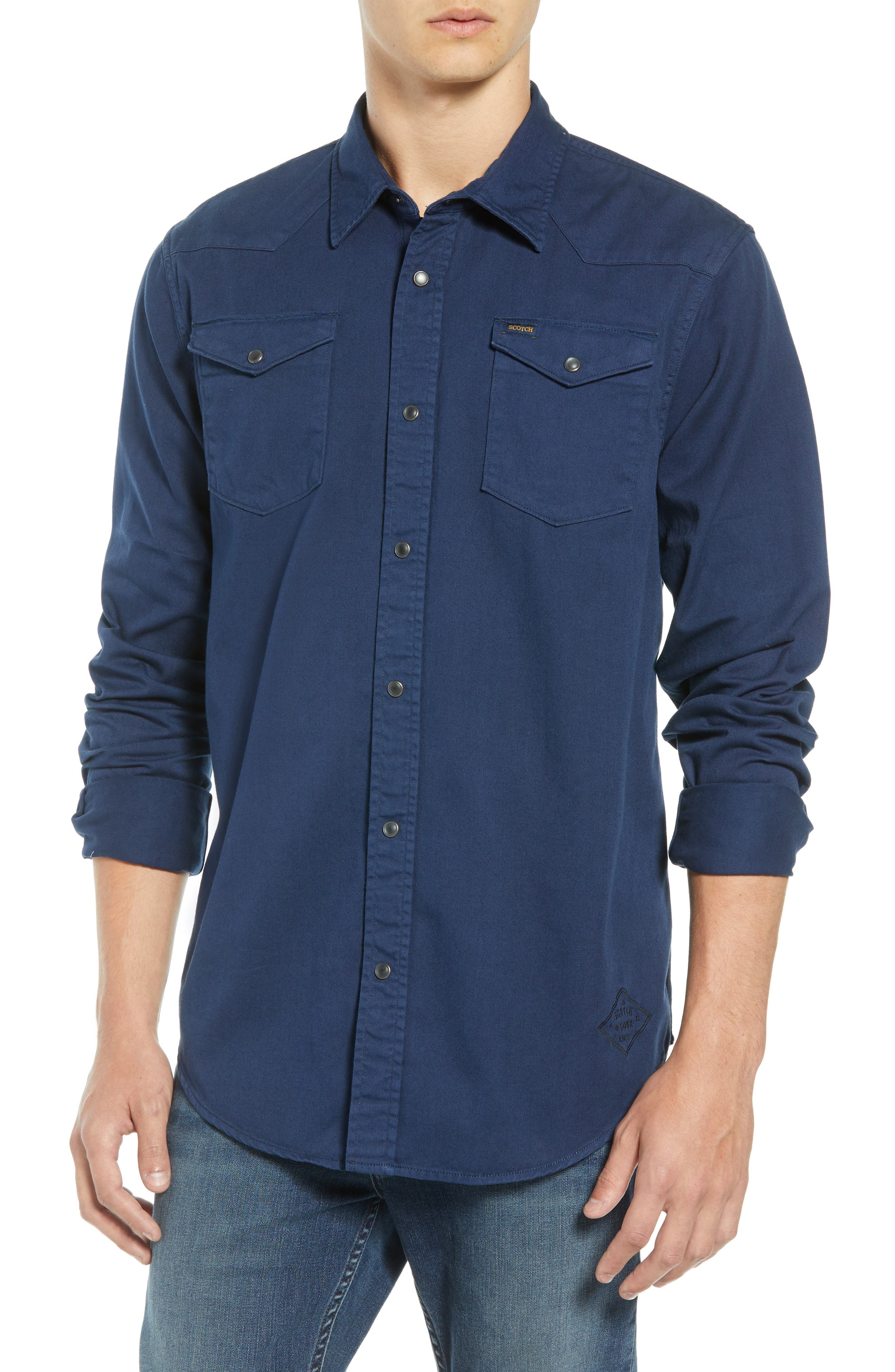 Regular Fit Garment Dyed Shirt,                         Main,                         color, DENIM BLUE