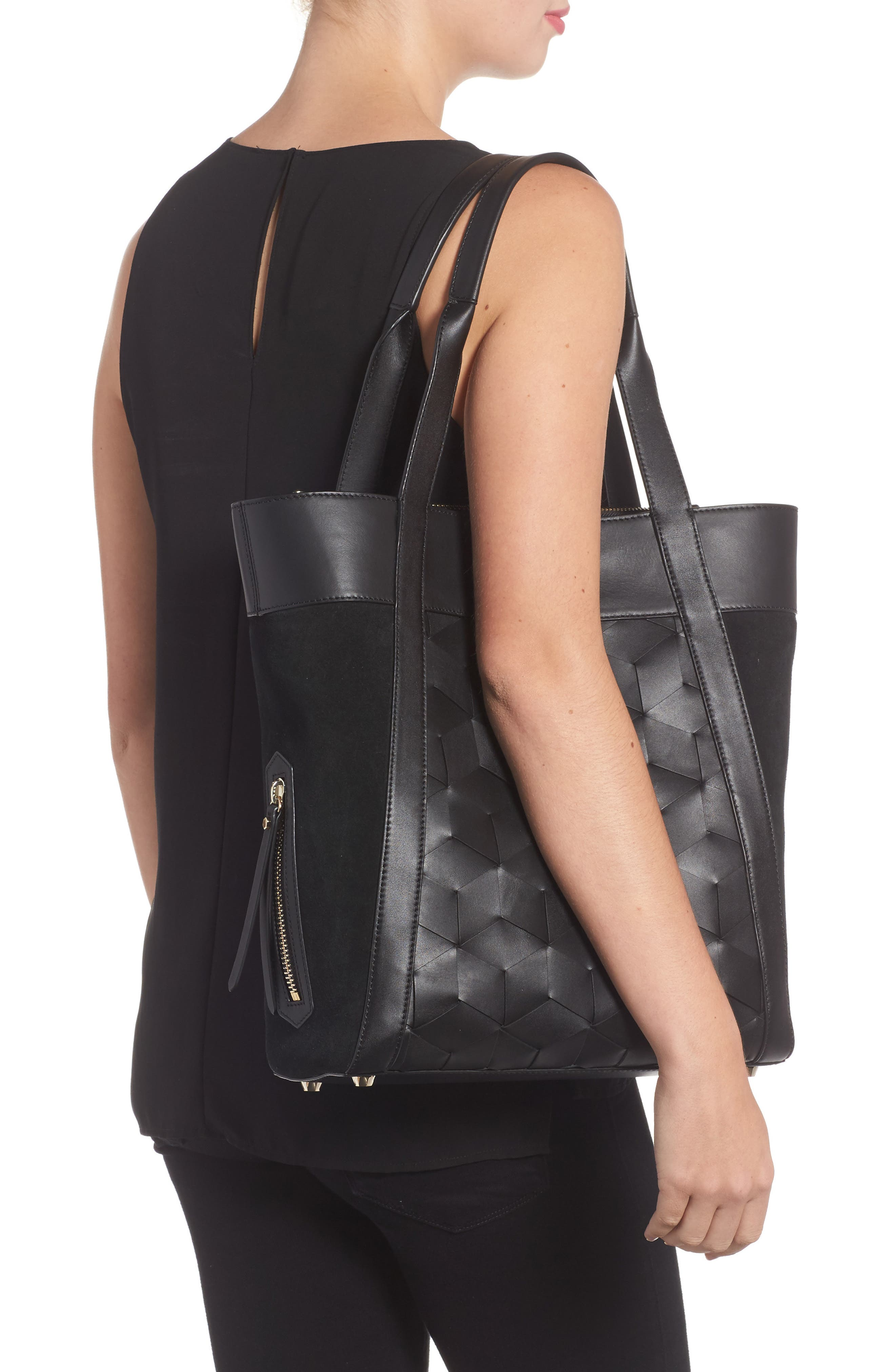 Northbound Suede & Leather Tote,                             Alternate thumbnail 2, color,                             001