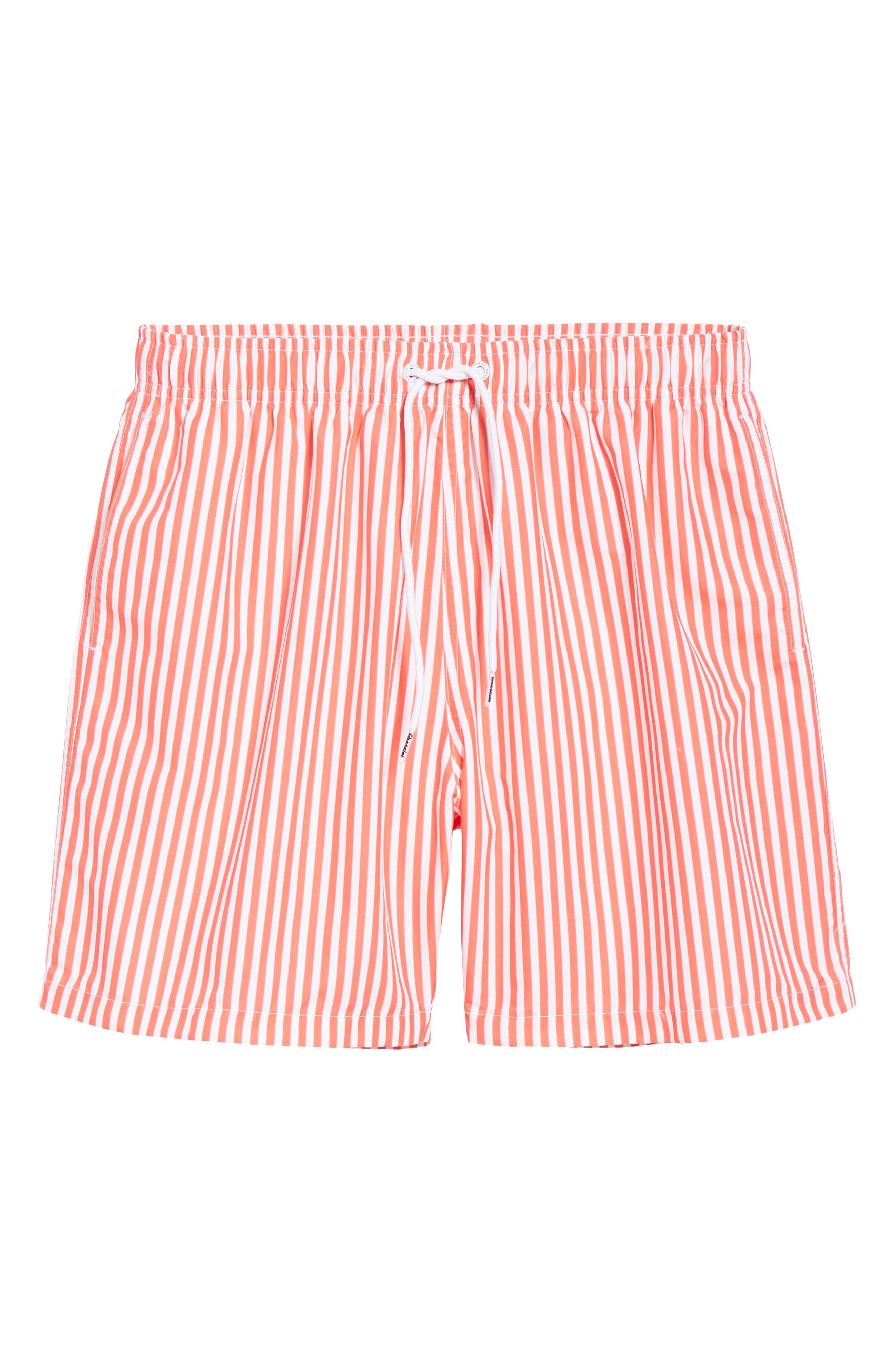 Deck Stripes Swim Trunks,                             Alternate thumbnail 6, color,                             PINK
