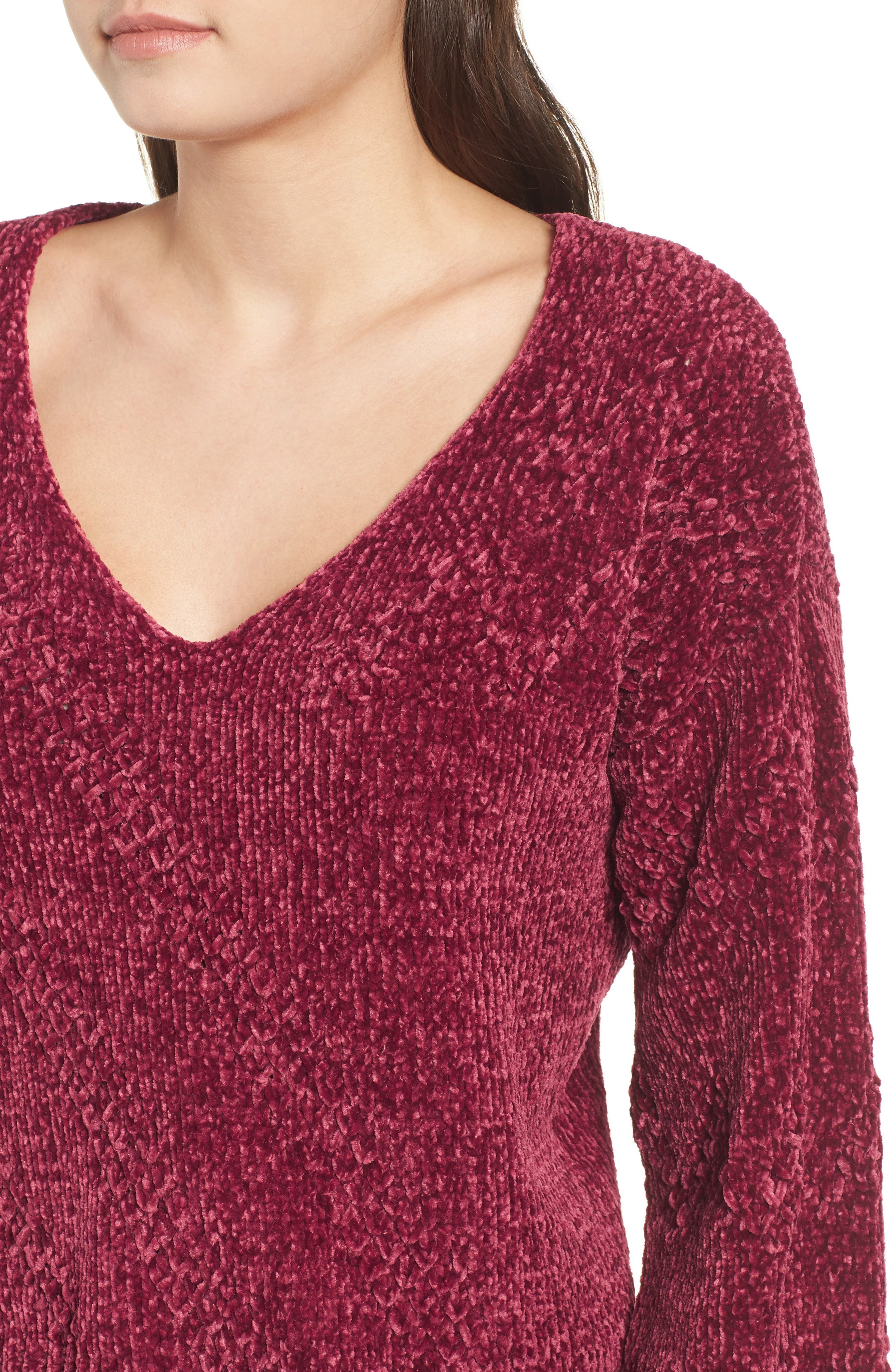Chenille Plunging Sweater,                             Alternate thumbnail 4, color,                             500