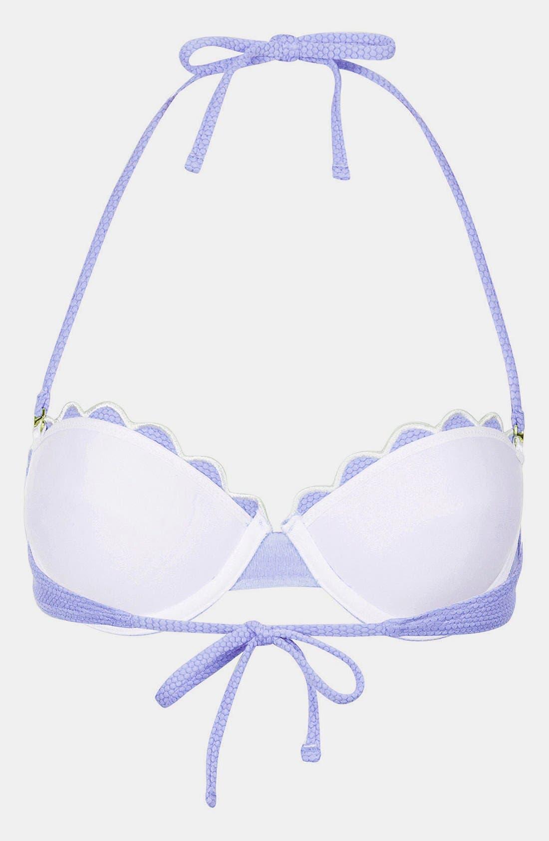 'Cornflower' Scalloped Bikini Top,                             Alternate thumbnail 2, color,                             450
