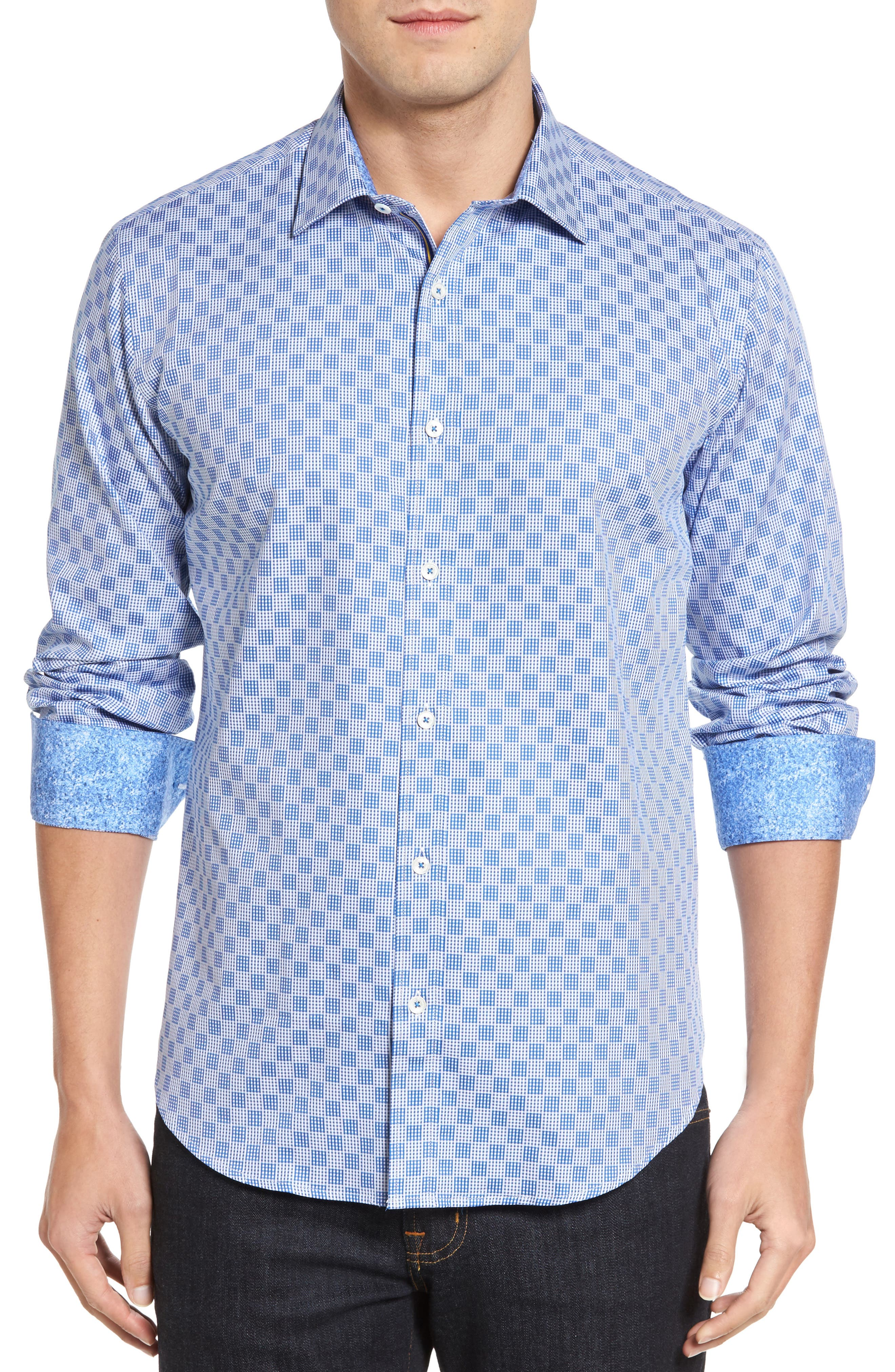 Shaped Fit Check Sport Shirt,                         Main,                         color, 422