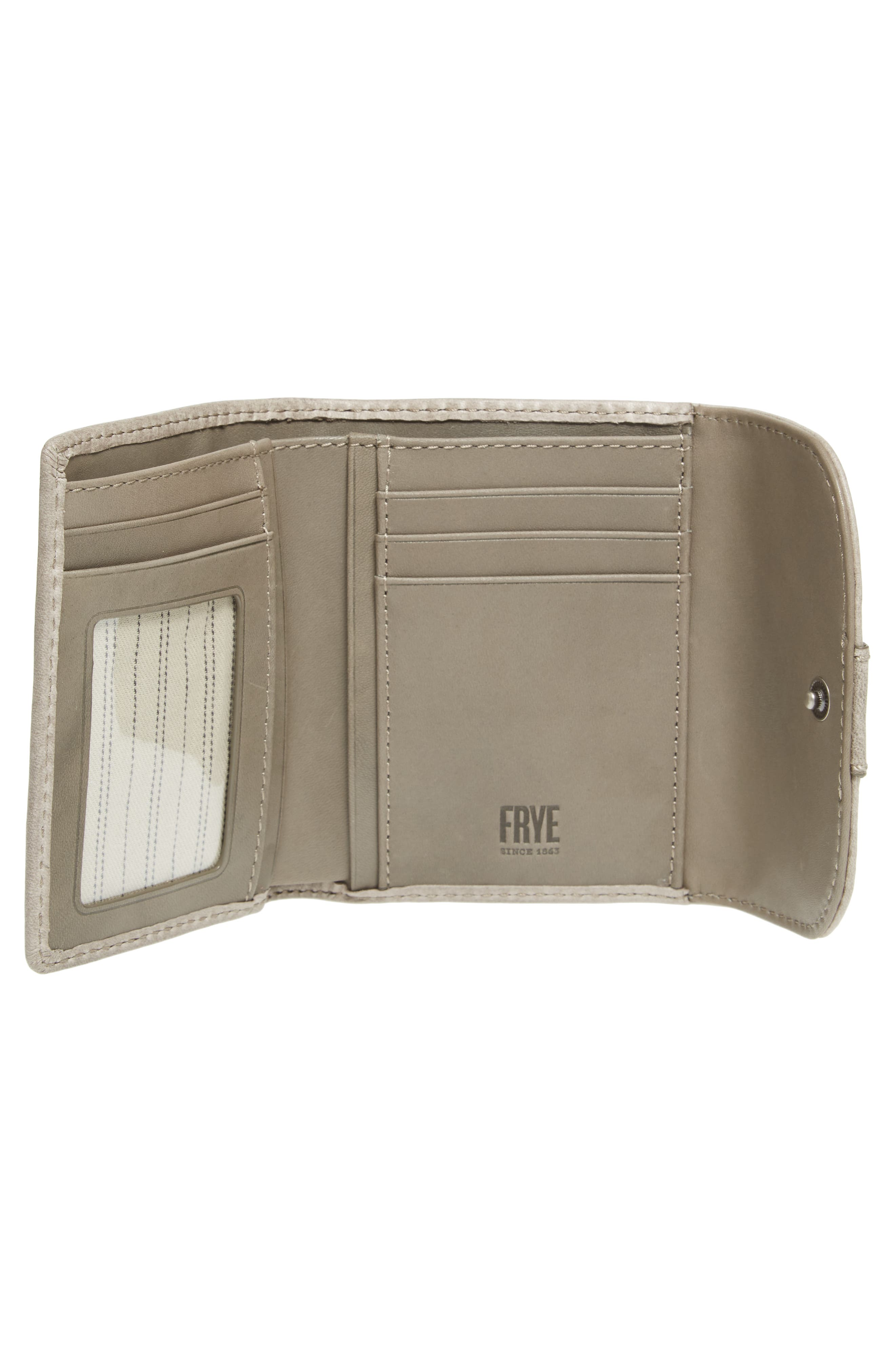 FRYE,                             Melissa Medium Trifold Leather Wallet,                             Alternate thumbnail 2, color,                             020