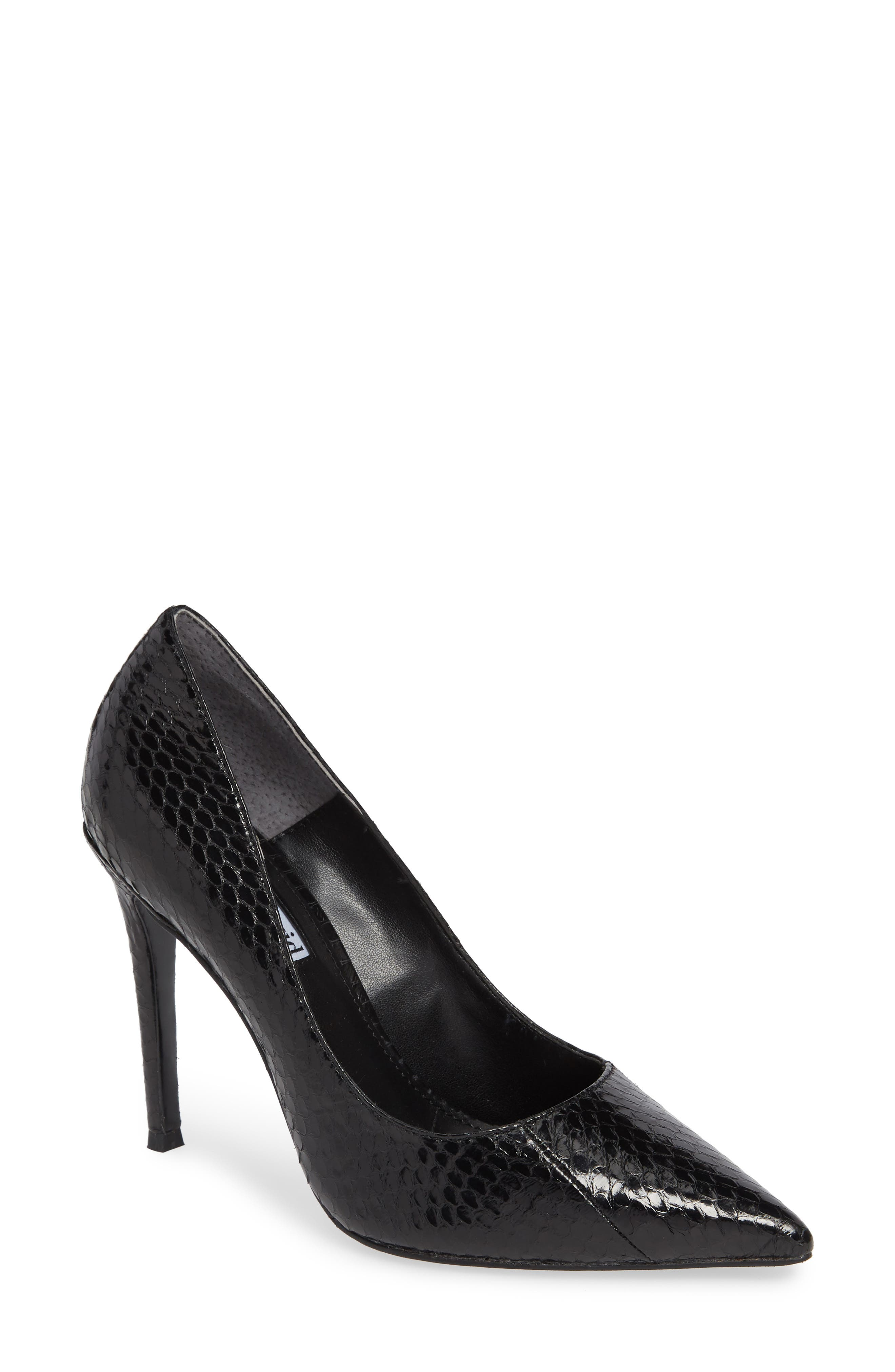 Calessi Pointy Toe Pump,                             Main thumbnail 1, color,                             BLACK SNAKE PRINT LEATHER