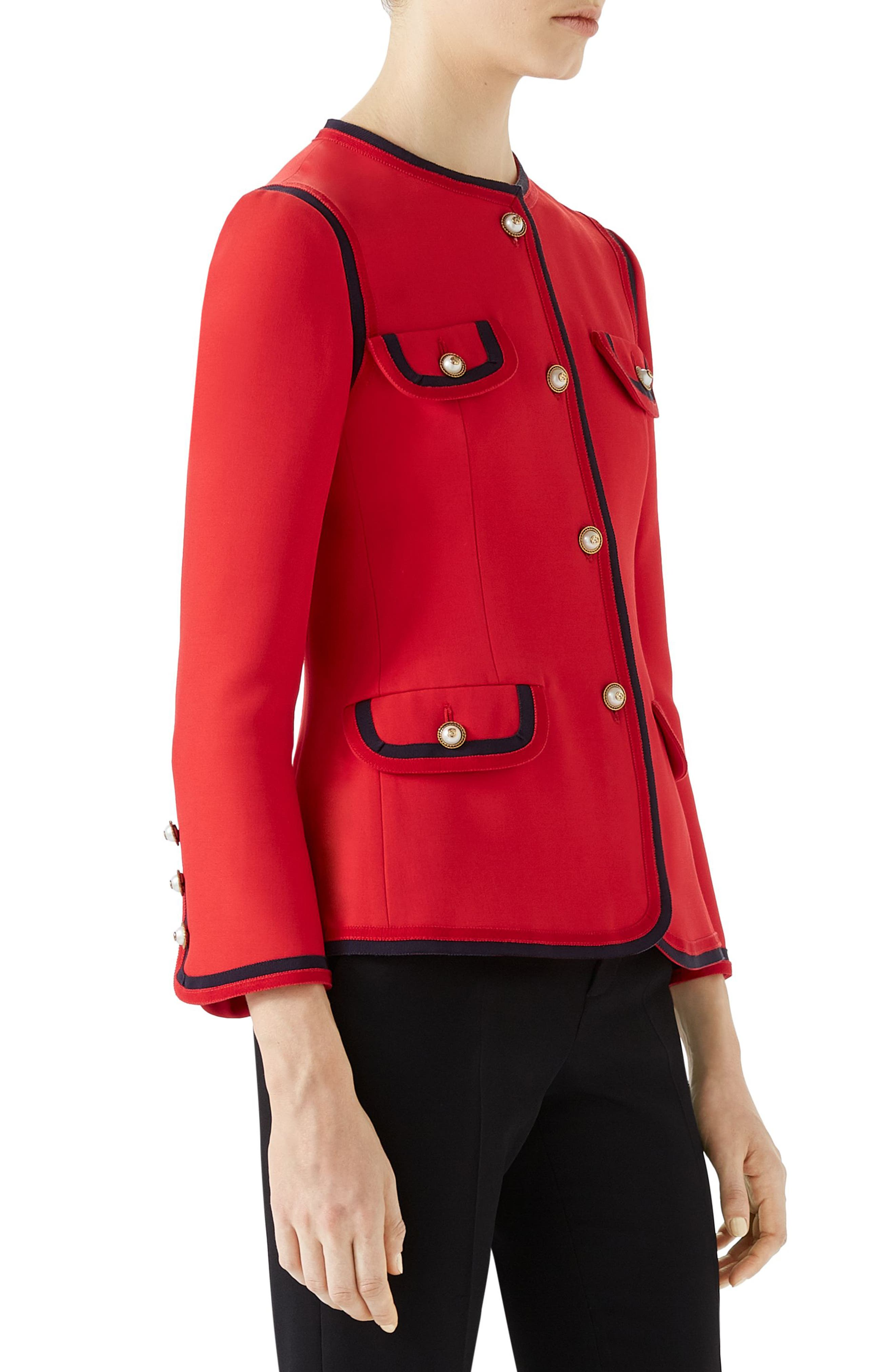 Silk & Wool Crepe Cady Jacket,                             Alternate thumbnail 3, color,                             BRIGHT RED