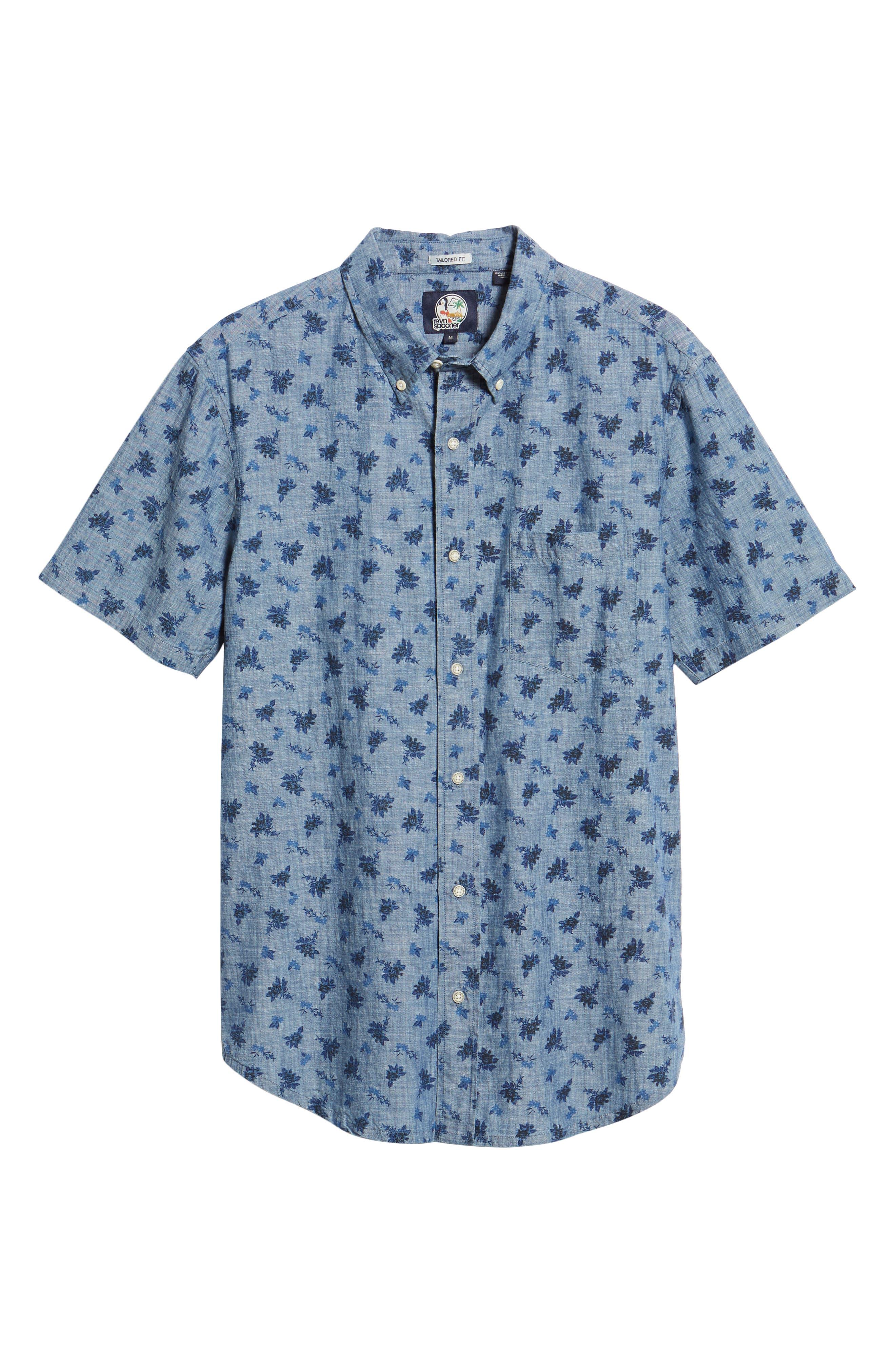 Floral Chambray Regular Fit Sport Shirt,                             Alternate thumbnail 5, color,                             BLUE