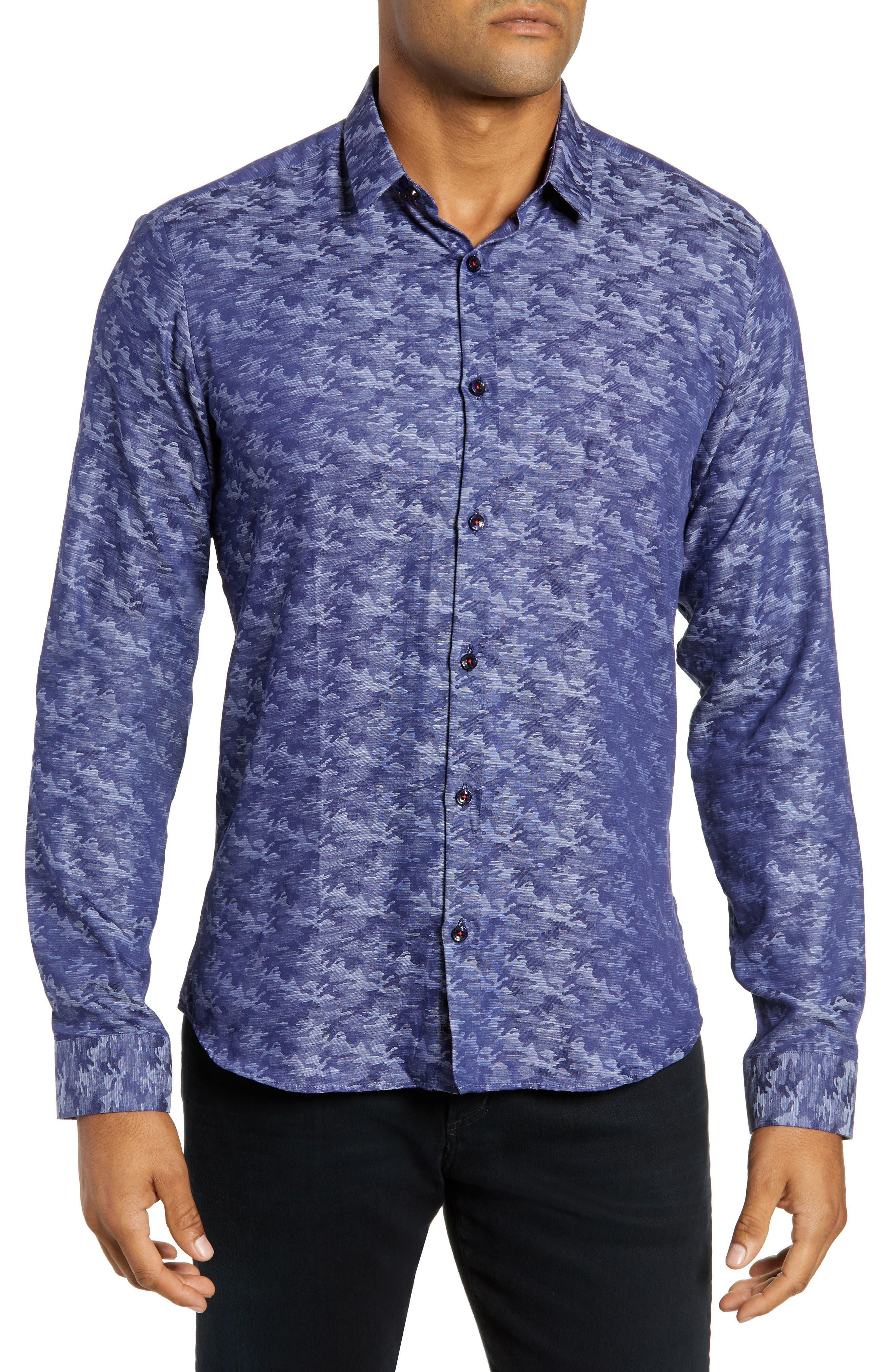 Trim Fit Sport Shirt,                         Main,                         color, BLUE CAMO