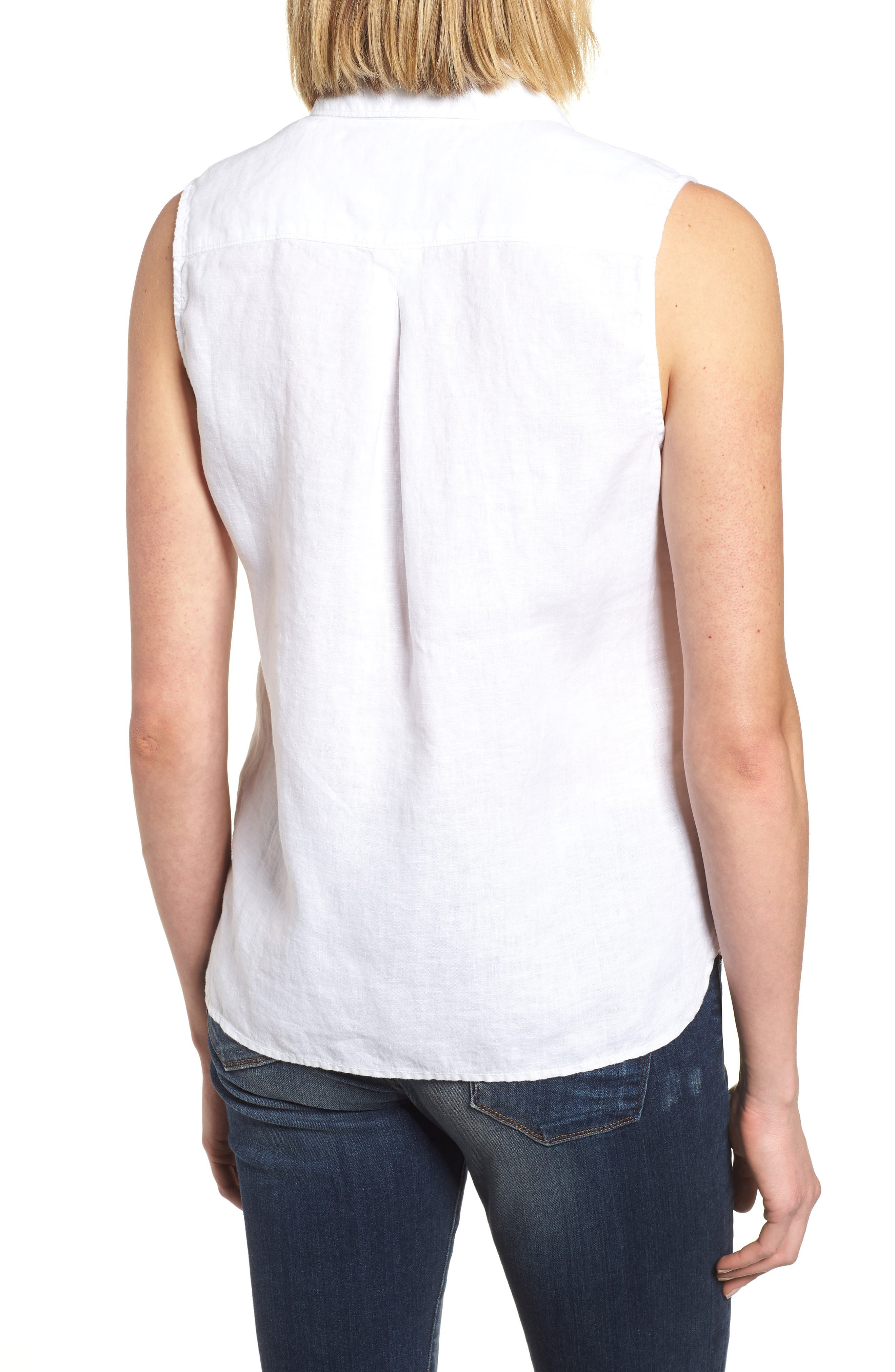 Sea Glass Breezer Linen Shirt,                             Alternate thumbnail 2, color,                             WHITE