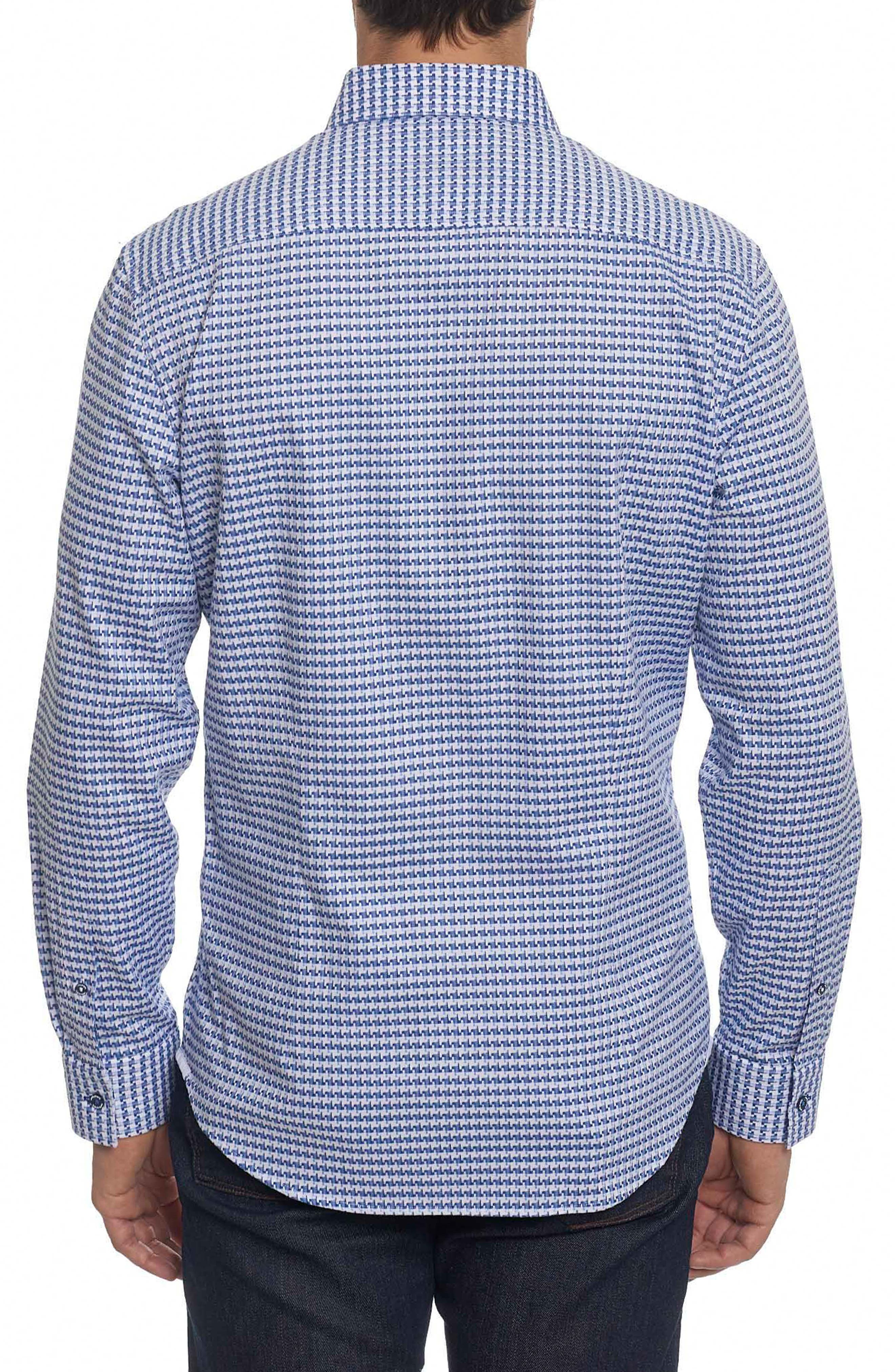 Landen Tailored Fit Print Sport Shirt,                             Alternate thumbnail 5, color,