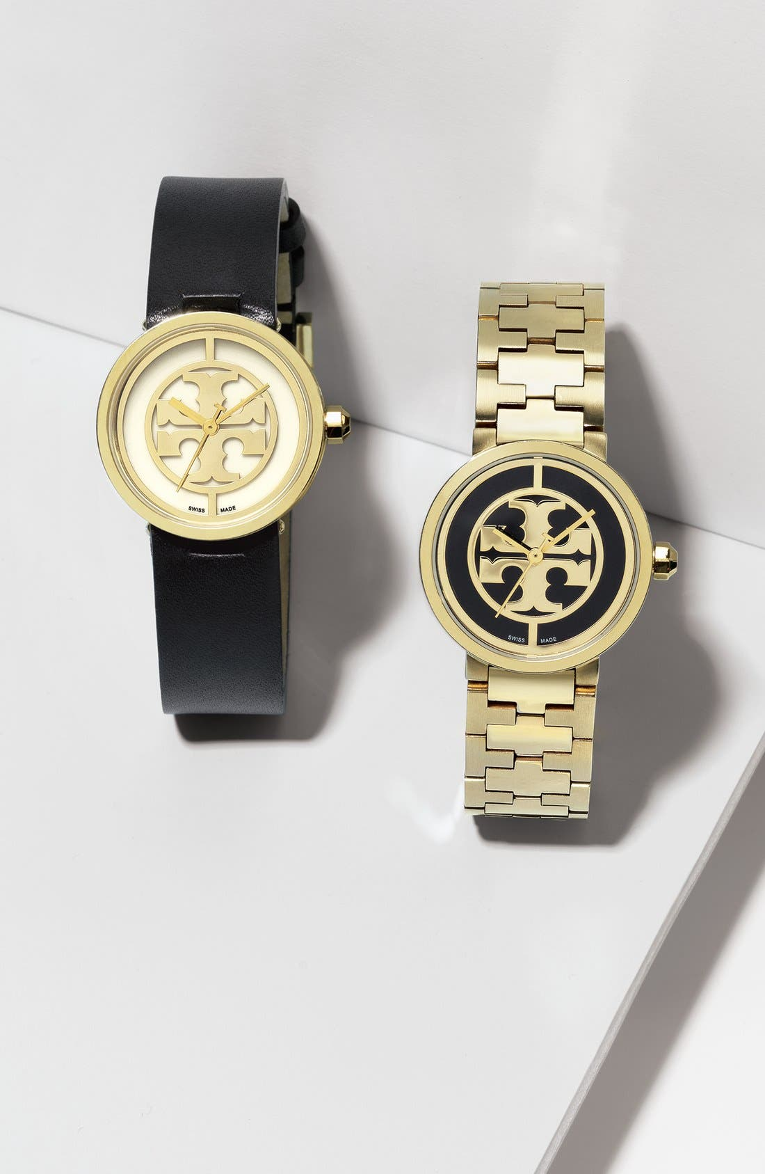 TORY BURCH,                             'Reva' Logo Dial Leather Strap Watch, 28mm,                             Alternate thumbnail 5, color,                             002