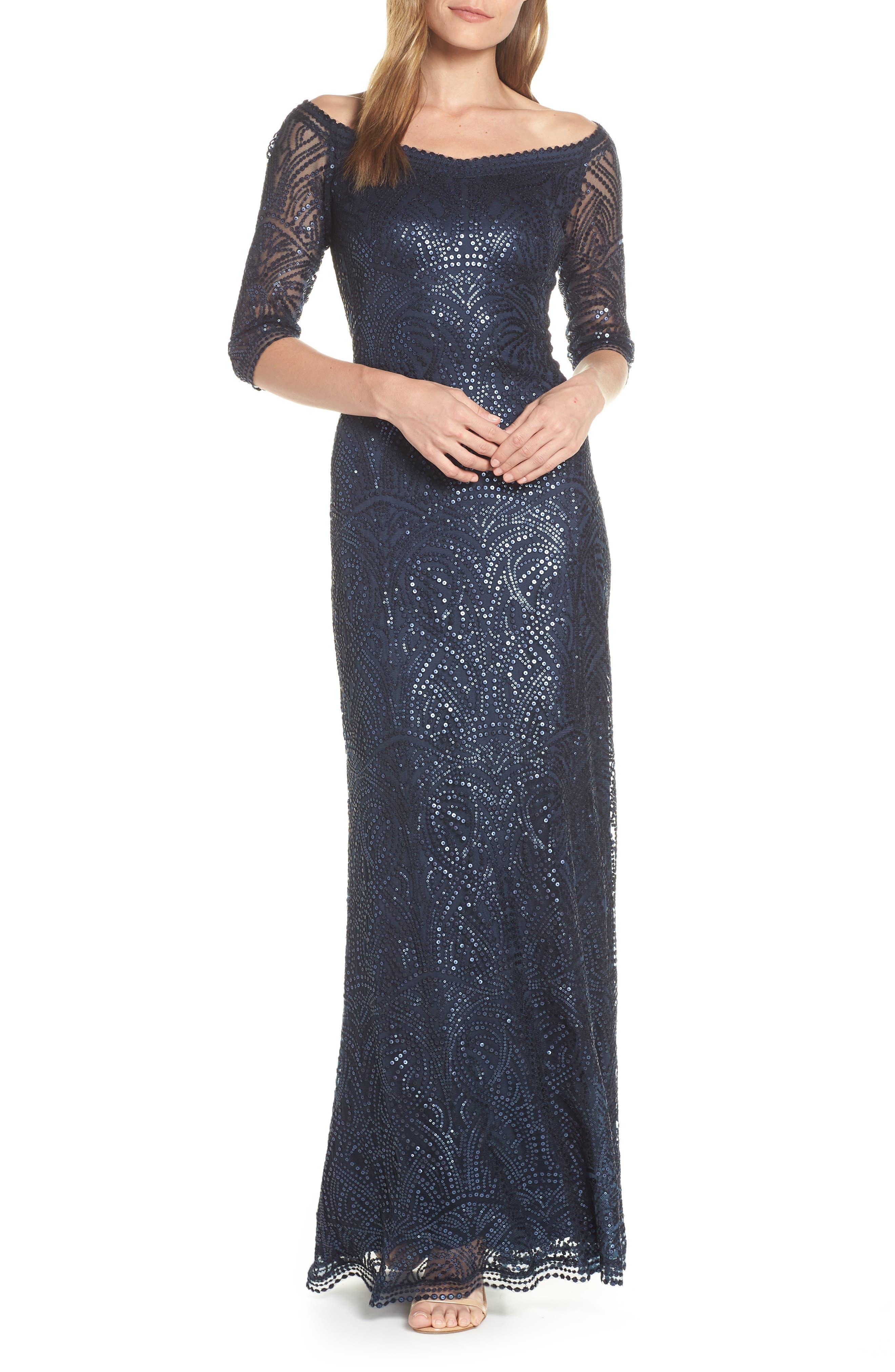 Tadashi Shoji Sequin Off The Shoulder Evening Dress, Blue