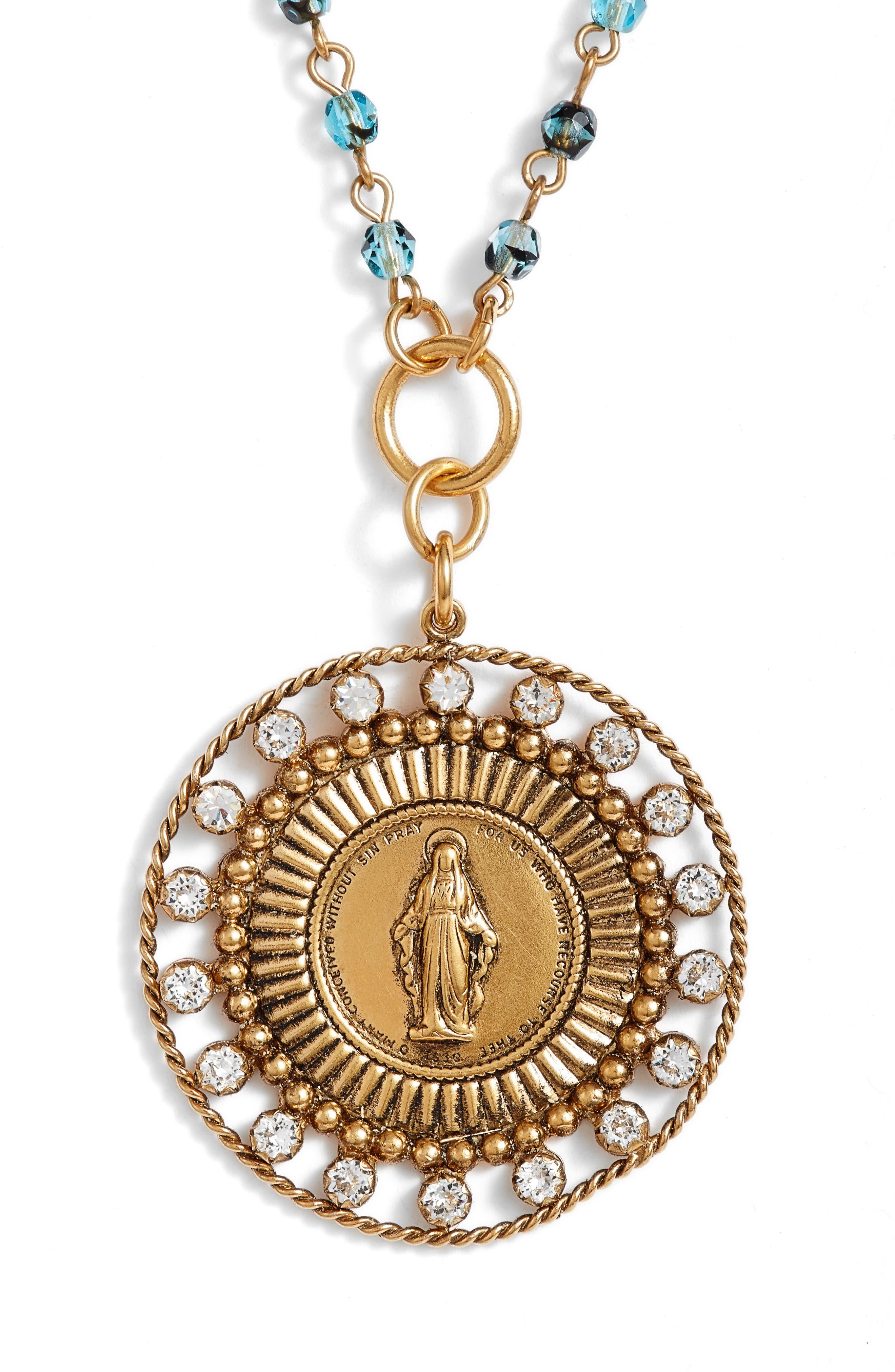 Fobbed Virgin Pendant Necklace,                             Alternate thumbnail 2, color,                             BLUE TORTOISE/ GOLD