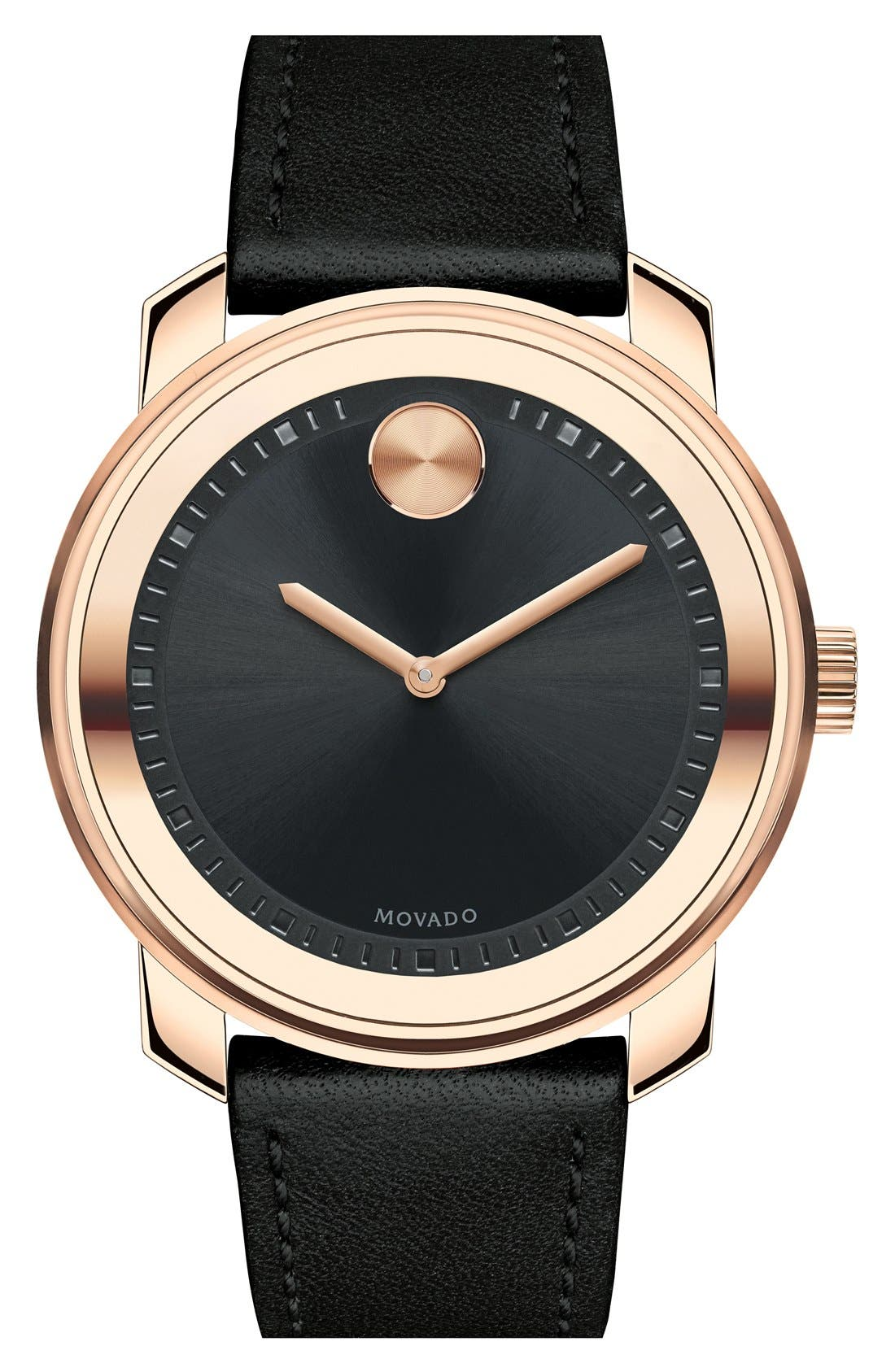 'Bold' Leather Strap Watch, 43mm,                             Main thumbnail 1, color,
