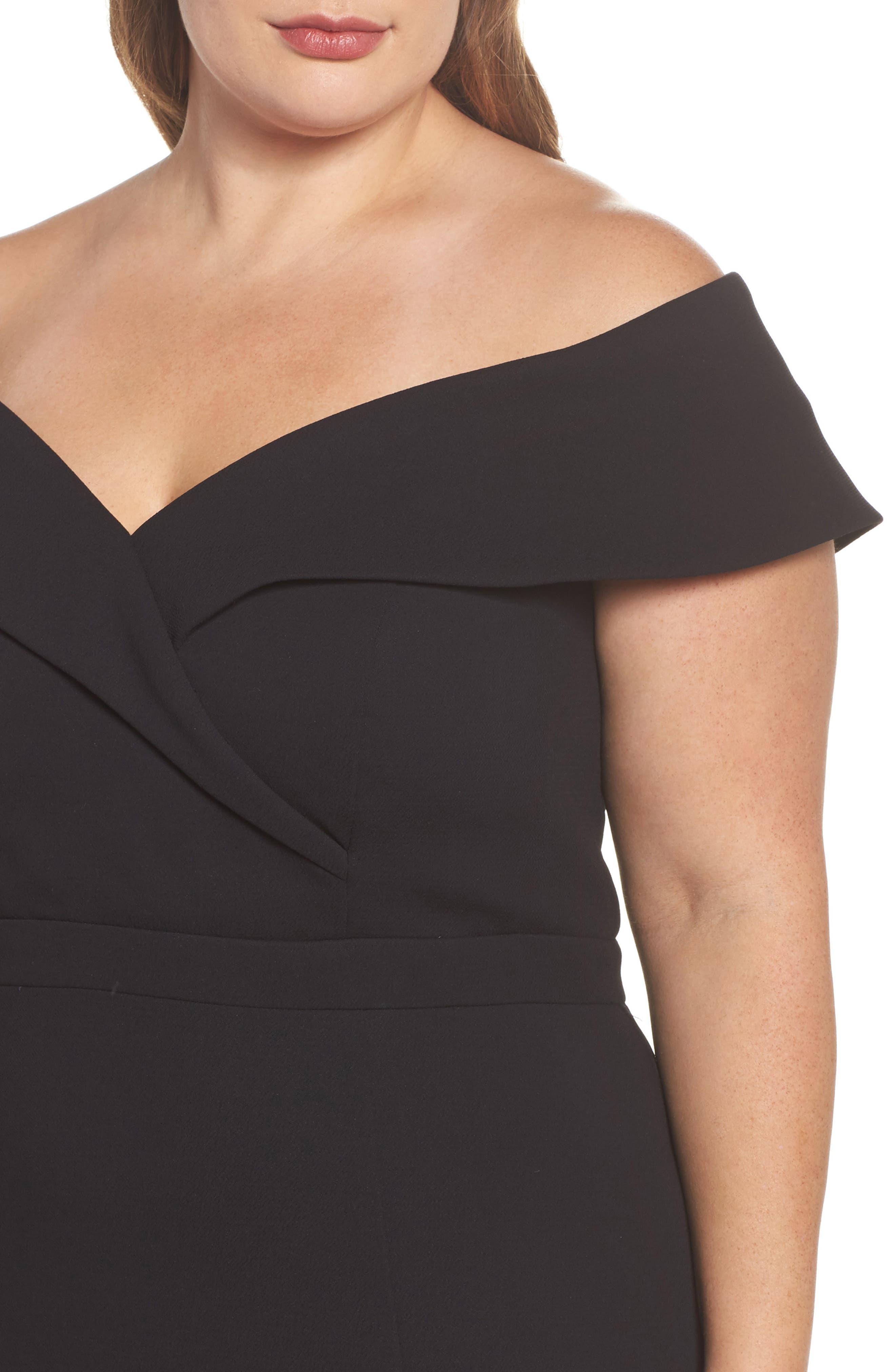 Off the Shoulder Front Slit Crepe Dress,                             Alternate thumbnail 4, color,                             001
