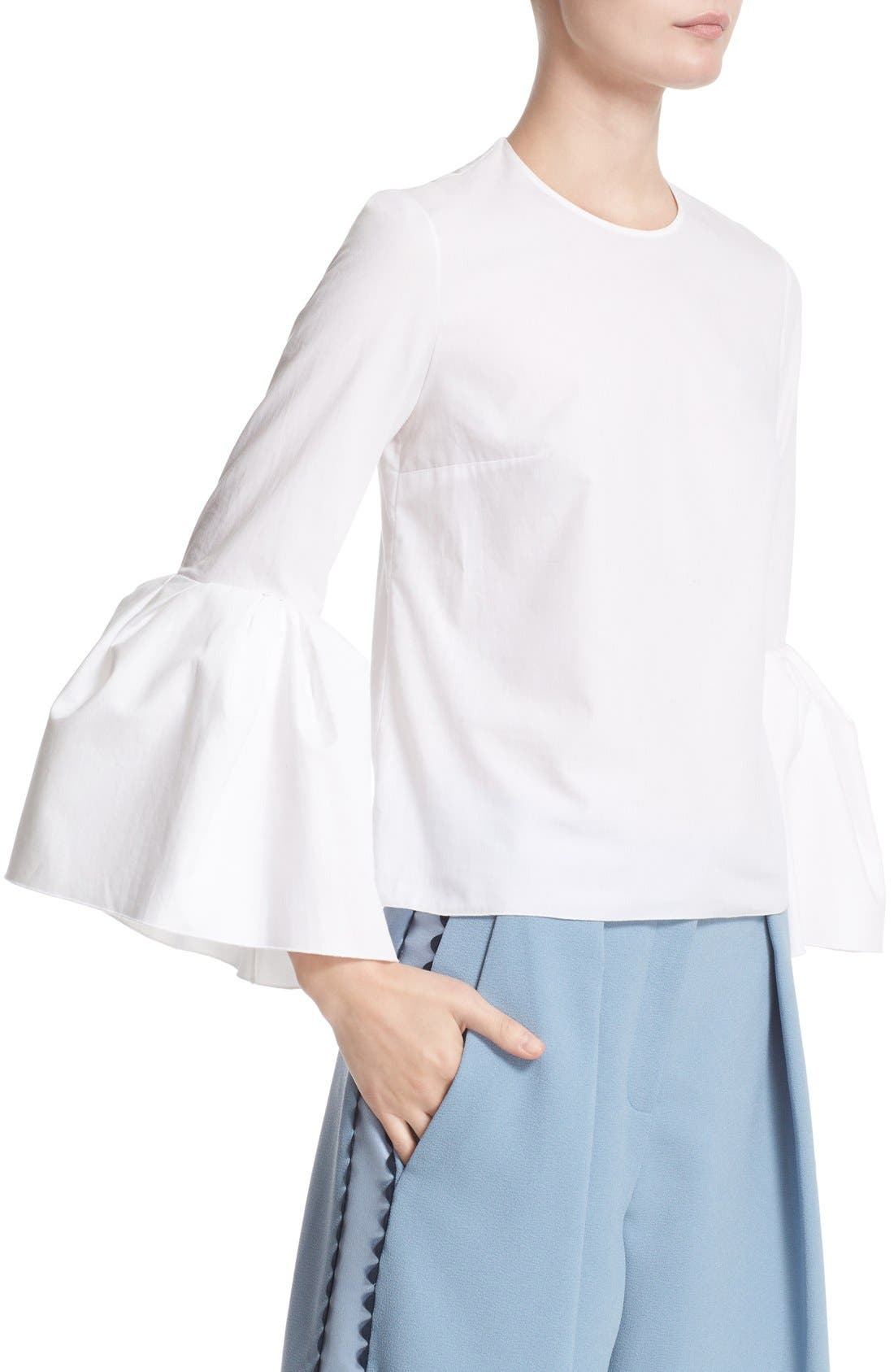 Truffaut Bell Sleeve Top,                             Alternate thumbnail 6, color,                             WHITE