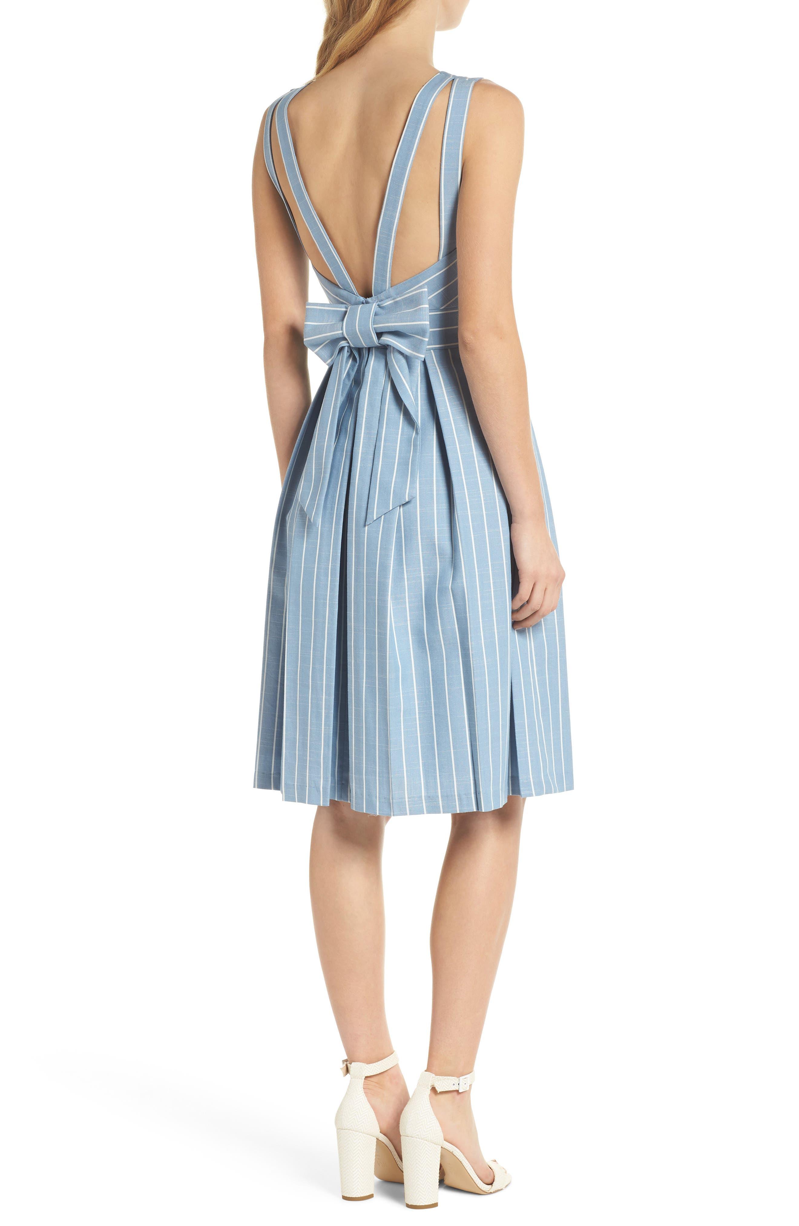 Samantha Slub Stripe Fit & Flare Dress,                             Alternate thumbnail 3, color,                             460