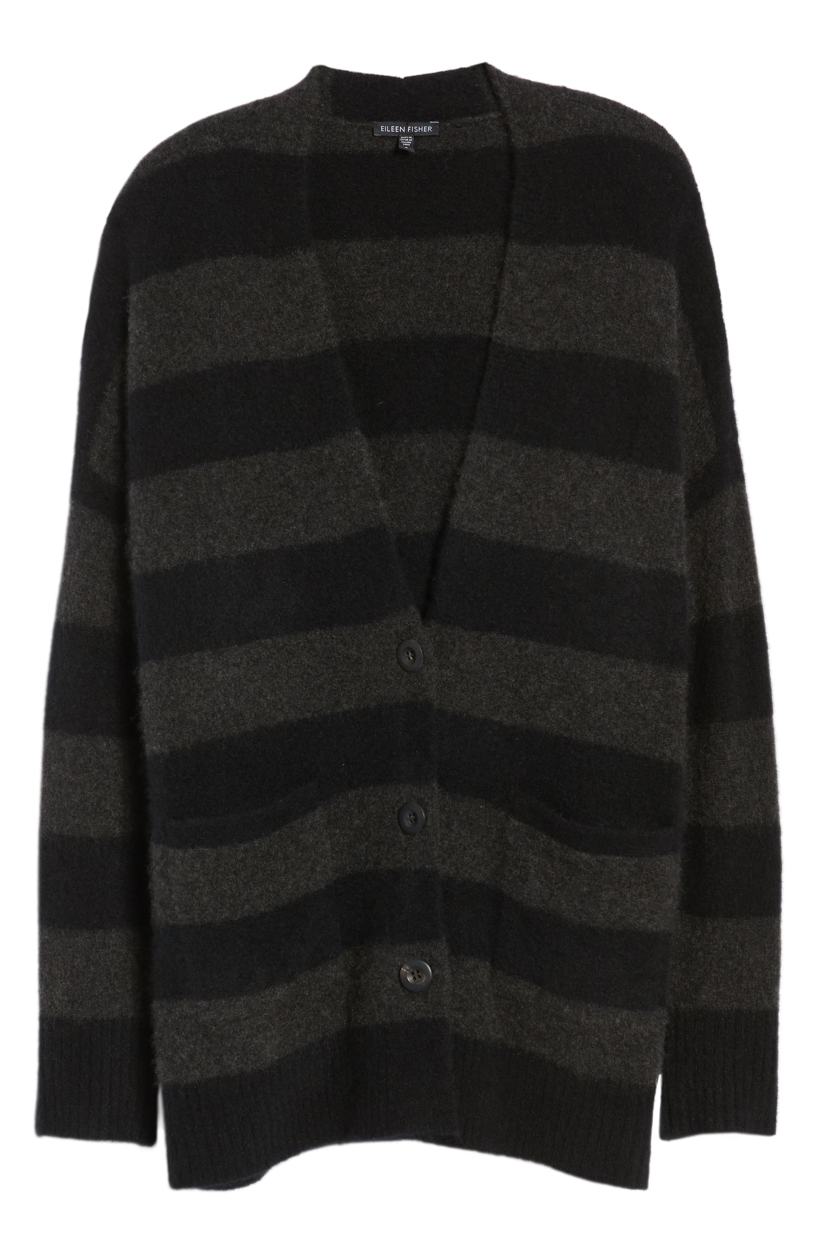 Stripe Cashmere Blend Cardigan,                             Alternate thumbnail 6, color,                             020