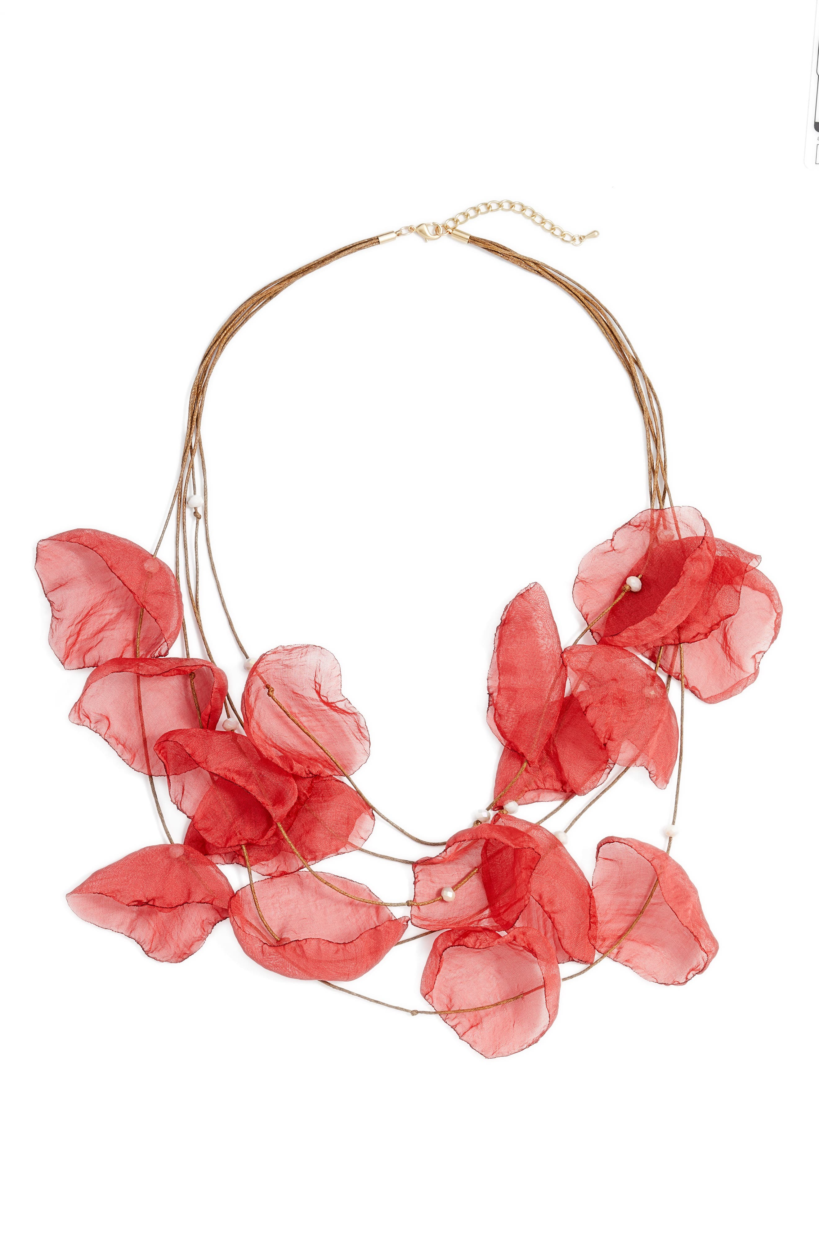Chiffon Flower Statement Necklace,                             Main thumbnail 1, color,                             GOLD/ POPPY