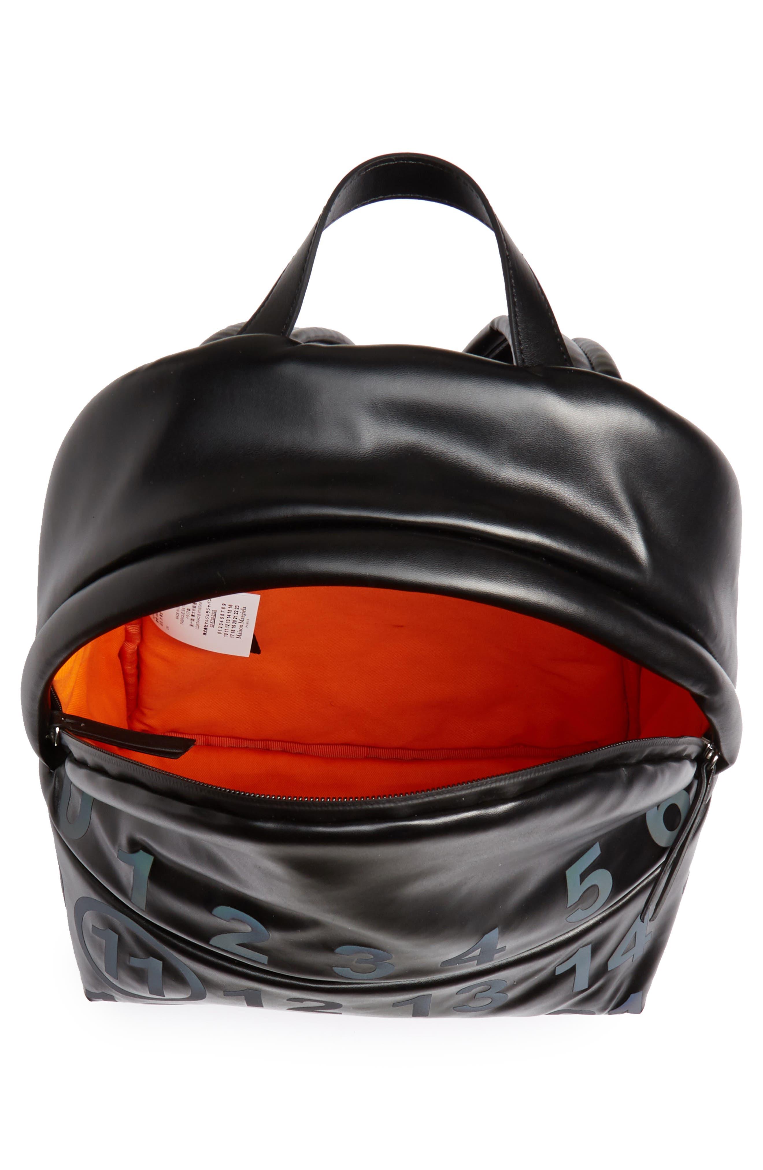 MAISON MARGIELA,                             Medium Number Print Faux Leather Backpack,                             Alternate thumbnail 4, color,                             BLACK