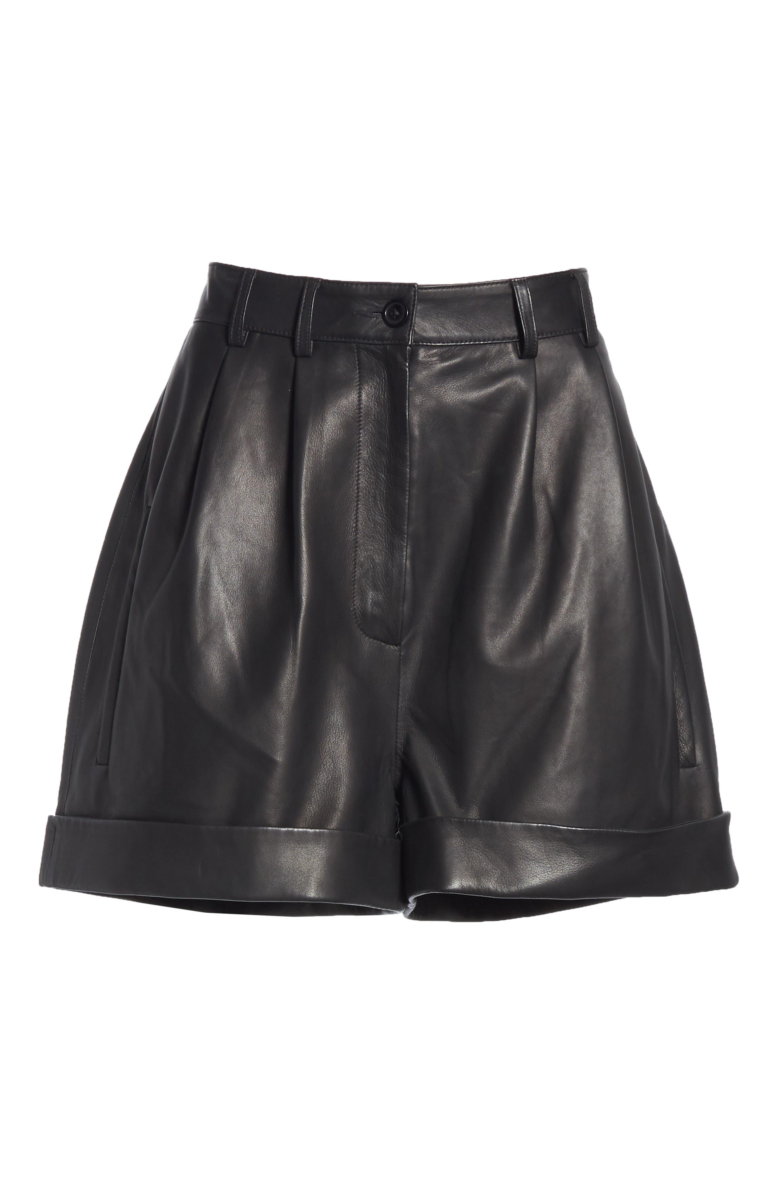 Leather Shorts,                             Alternate thumbnail 6, color,                             BLACK