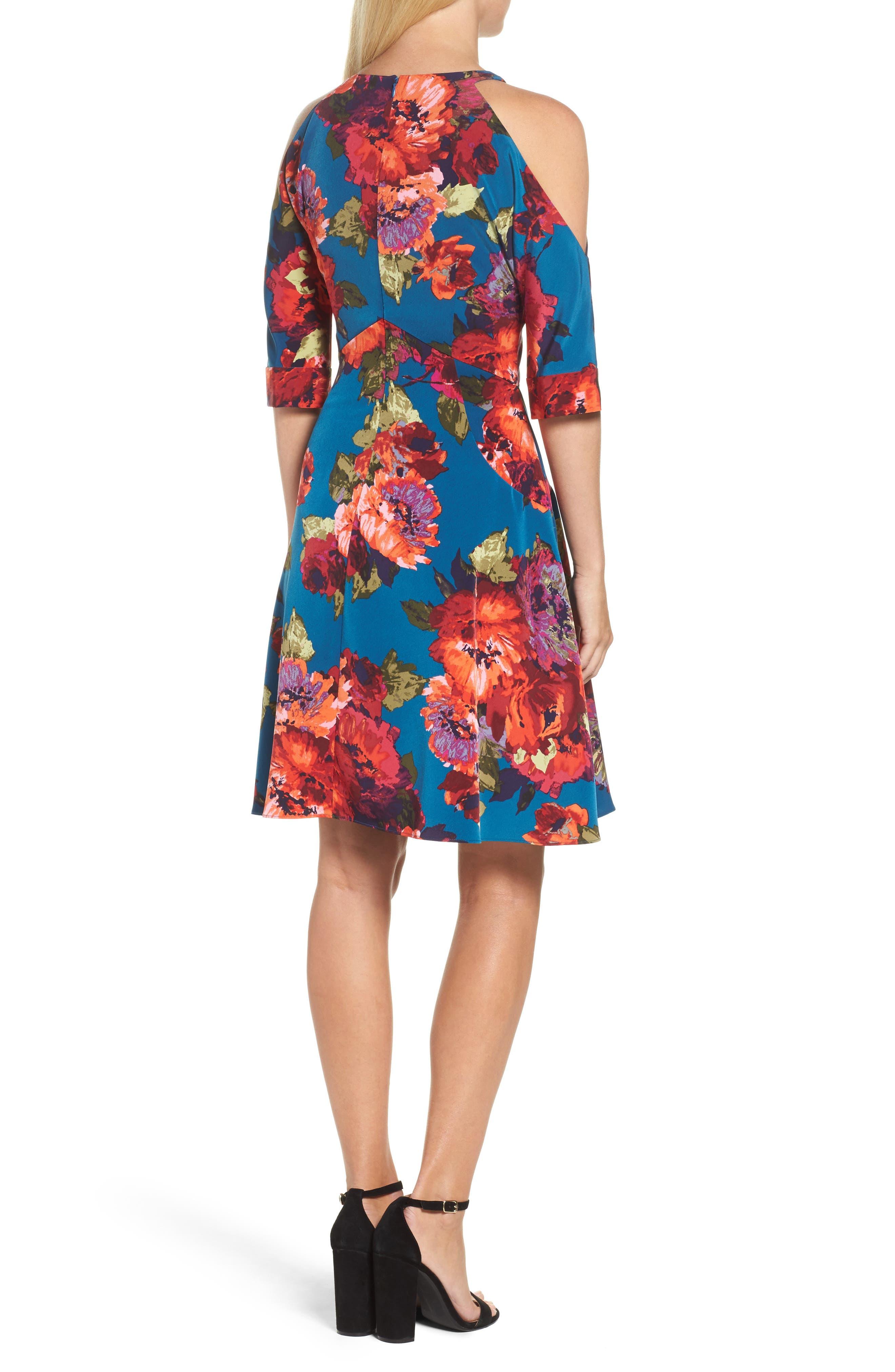 Cold Shoulder Fit & Flare Dress,                             Alternate thumbnail 2, color,                             490