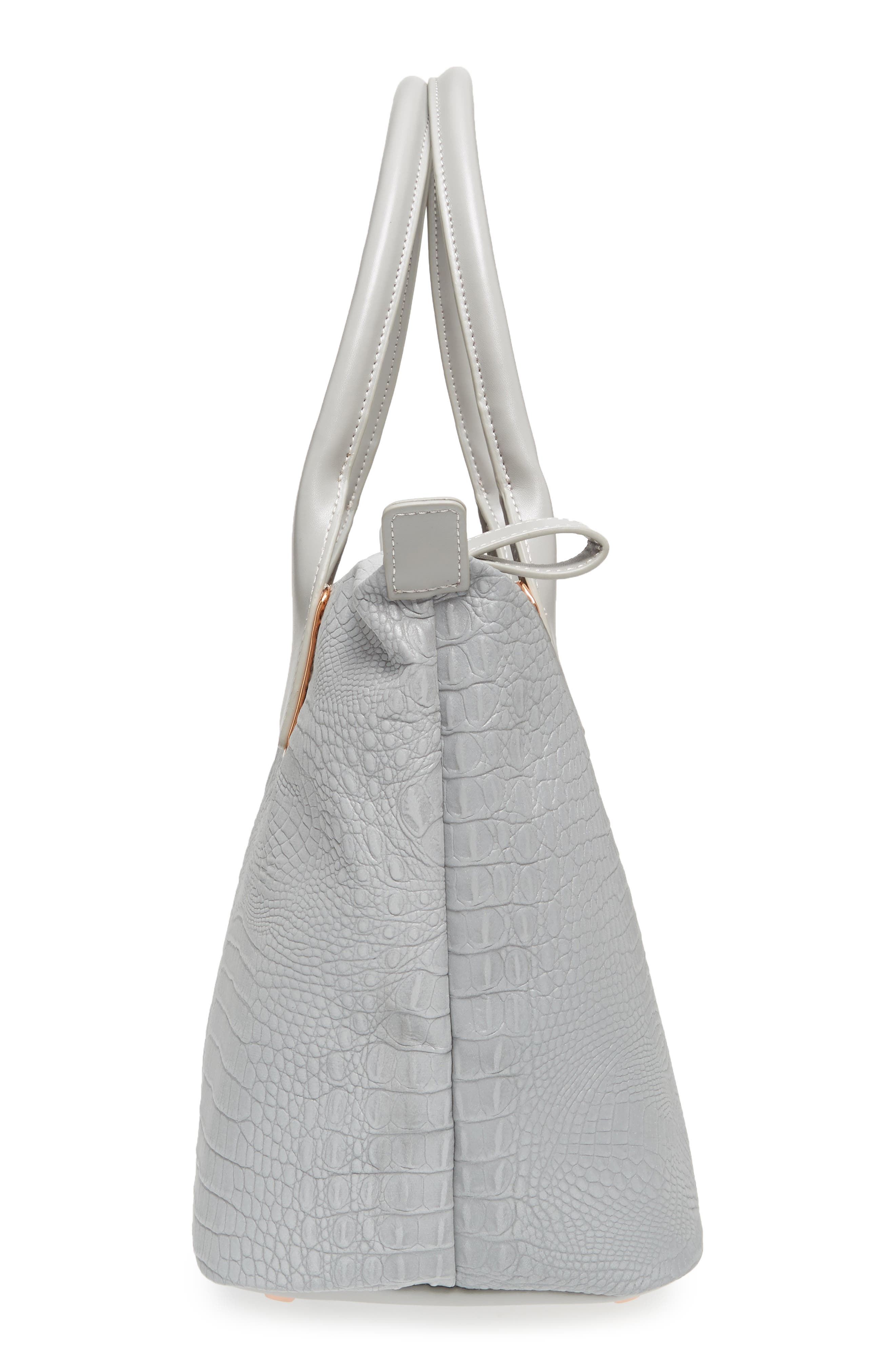 Remus Reflective Croc Embossed Faux Leather Tote,                             Alternate thumbnail 5, color,