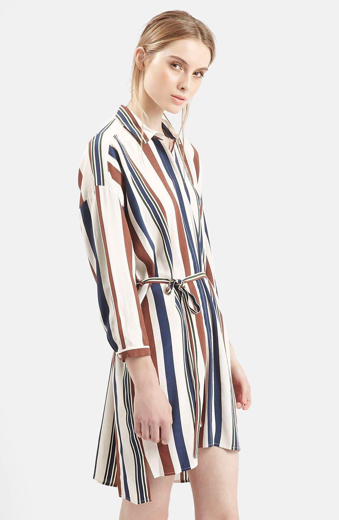 Stripe Belted Shirtdress,                             Alternate thumbnail 3, color,                             900
