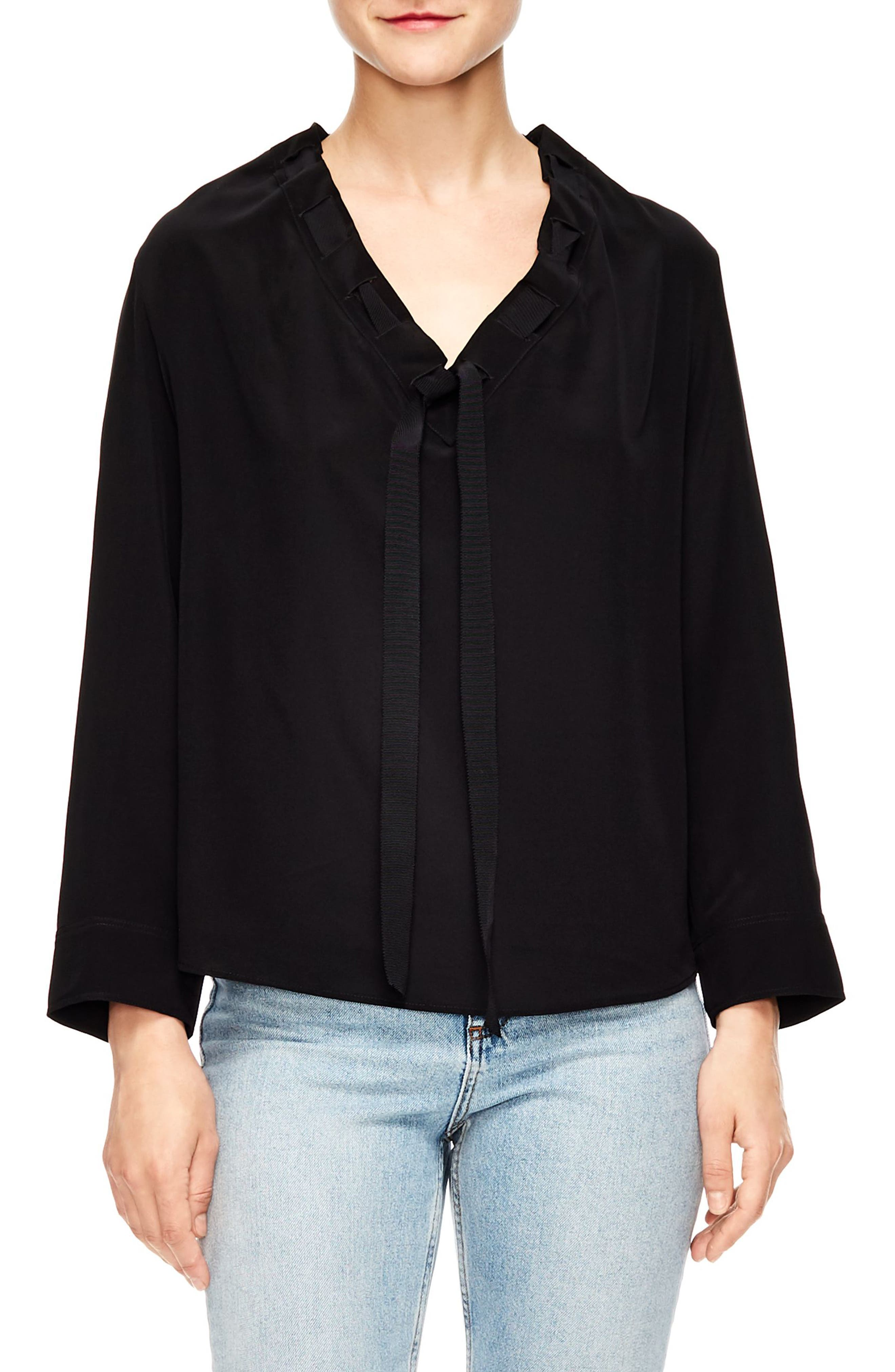 Leo Tie Neck Silk Top,                         Main,                         color, BLACK