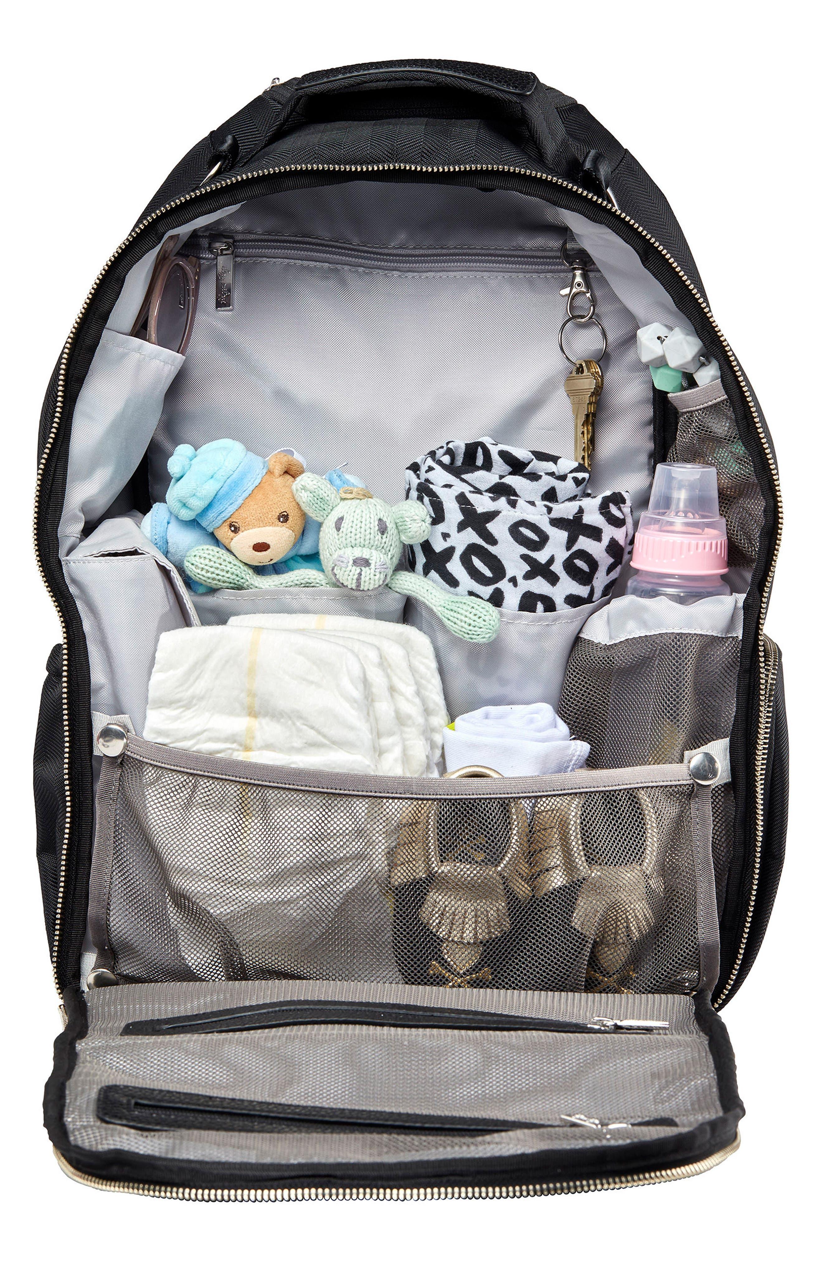 Diaper Bag Backpack,                             Alternate thumbnail 3, color,                             BLACK HERRINGBONE