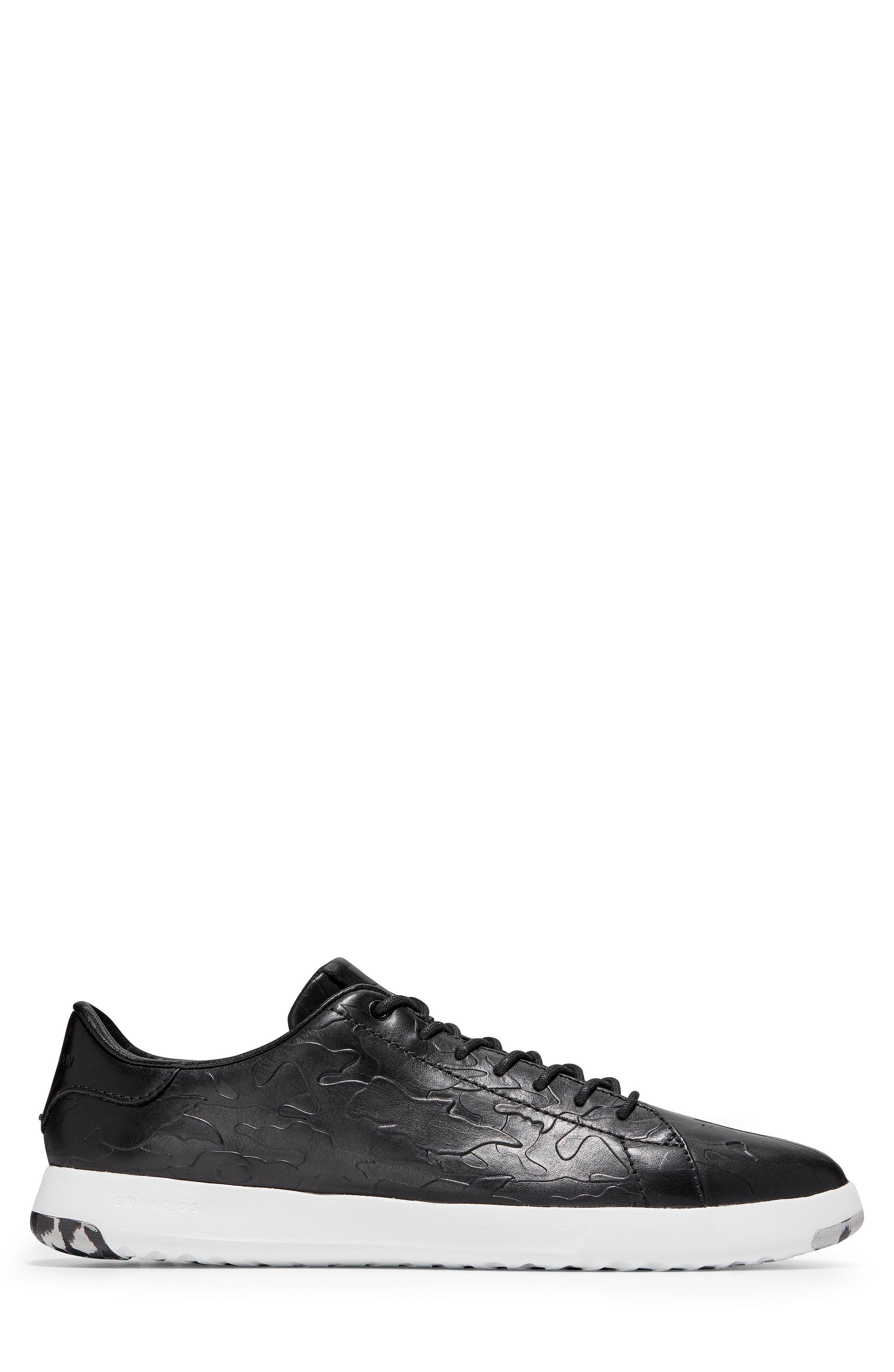 GrandPro Tennis Sneaker,                             Alternate thumbnail 3, color,                             BLACK/ CAMO LEATHER