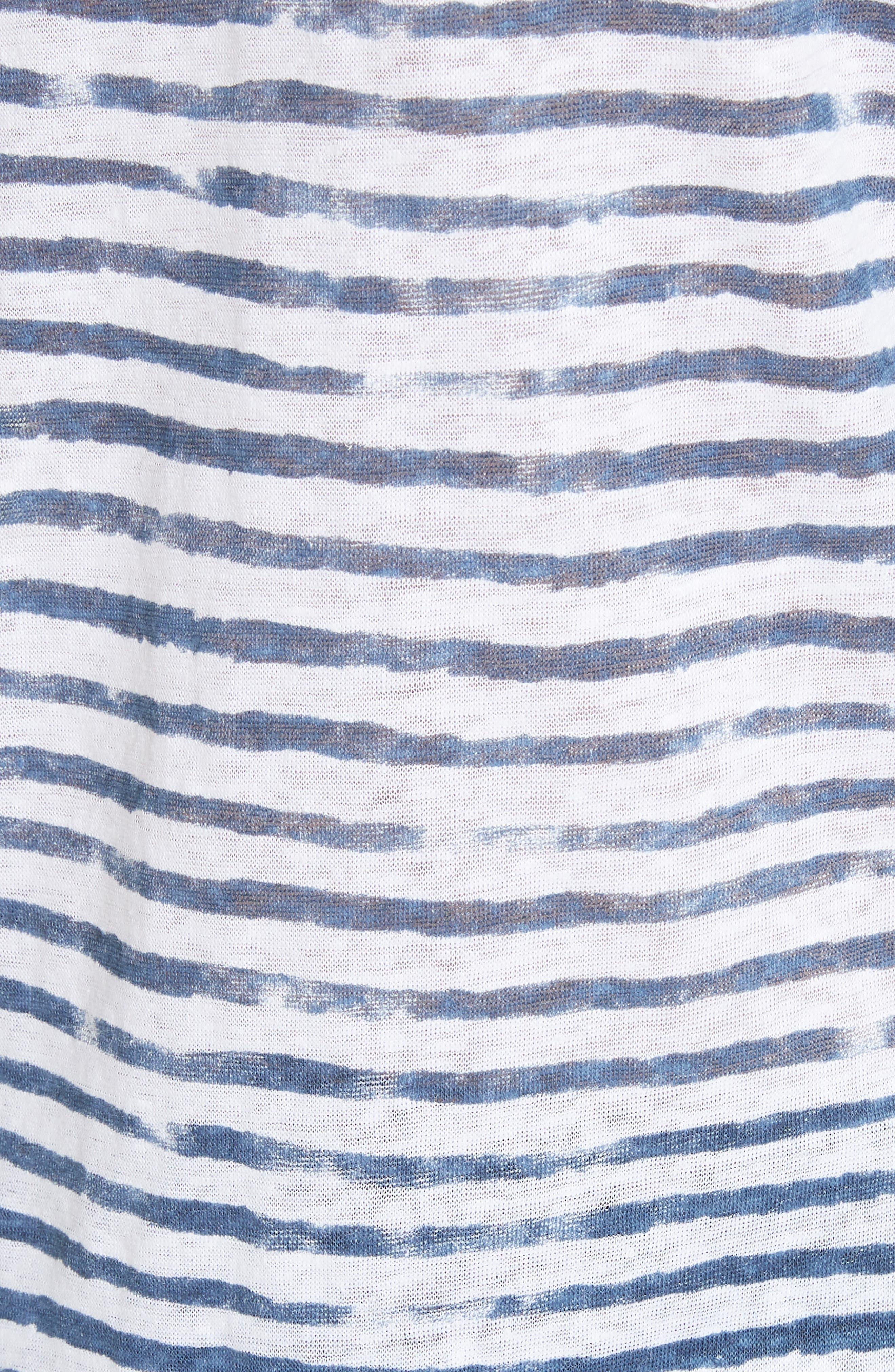 Stripe Three Quarter Sleeve Tee,                             Alternate thumbnail 5, color,                             104