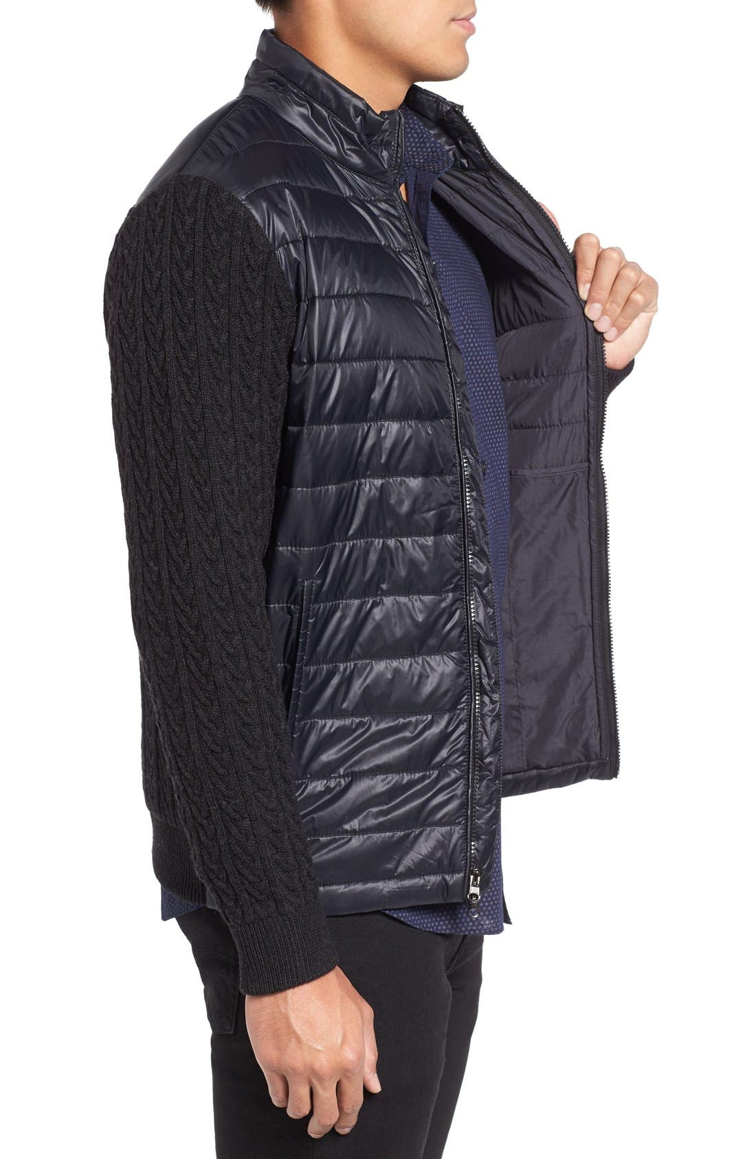 'Beacon' Trim Fit Quilted Cable Knit Zip Sweater,                             Alternate thumbnail 3, color,                             001
