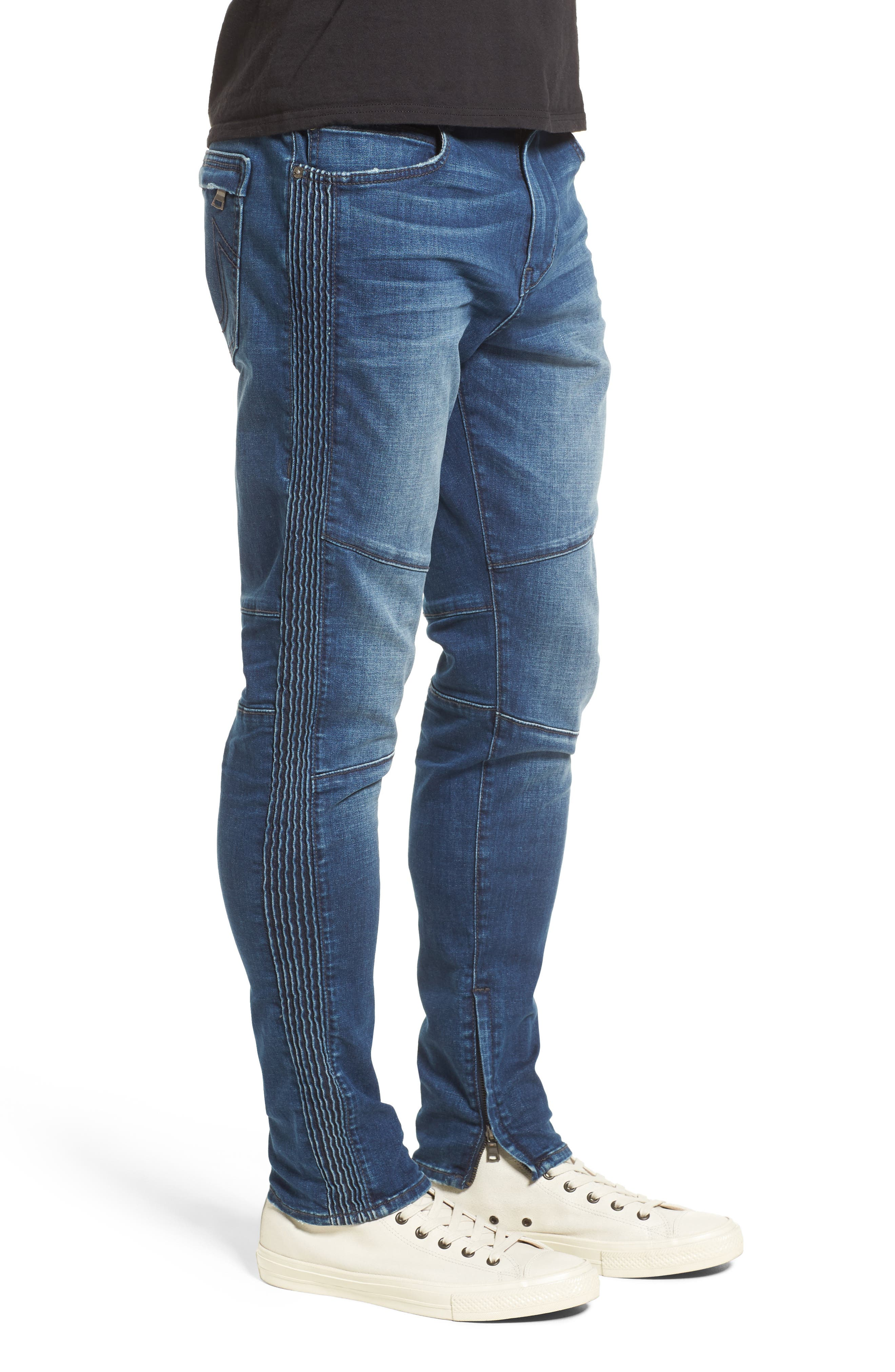 Racer Skinny Fit Jeans,                             Alternate thumbnail 3, color,                             WHISKEY BLUES