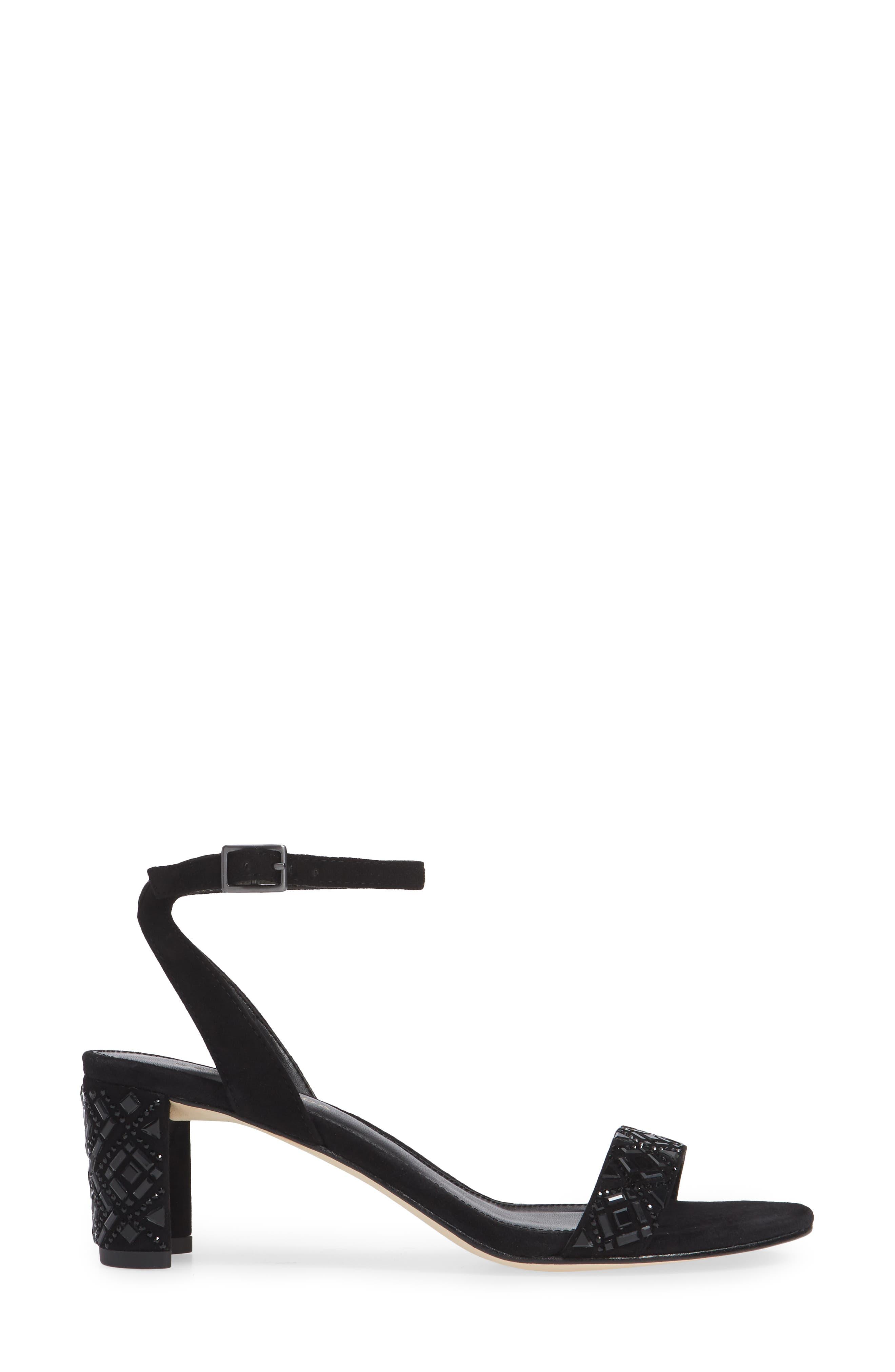 Moira Crystal Embellished Sandal,                             Alternate thumbnail 3, color,                             BLACK SUEDE