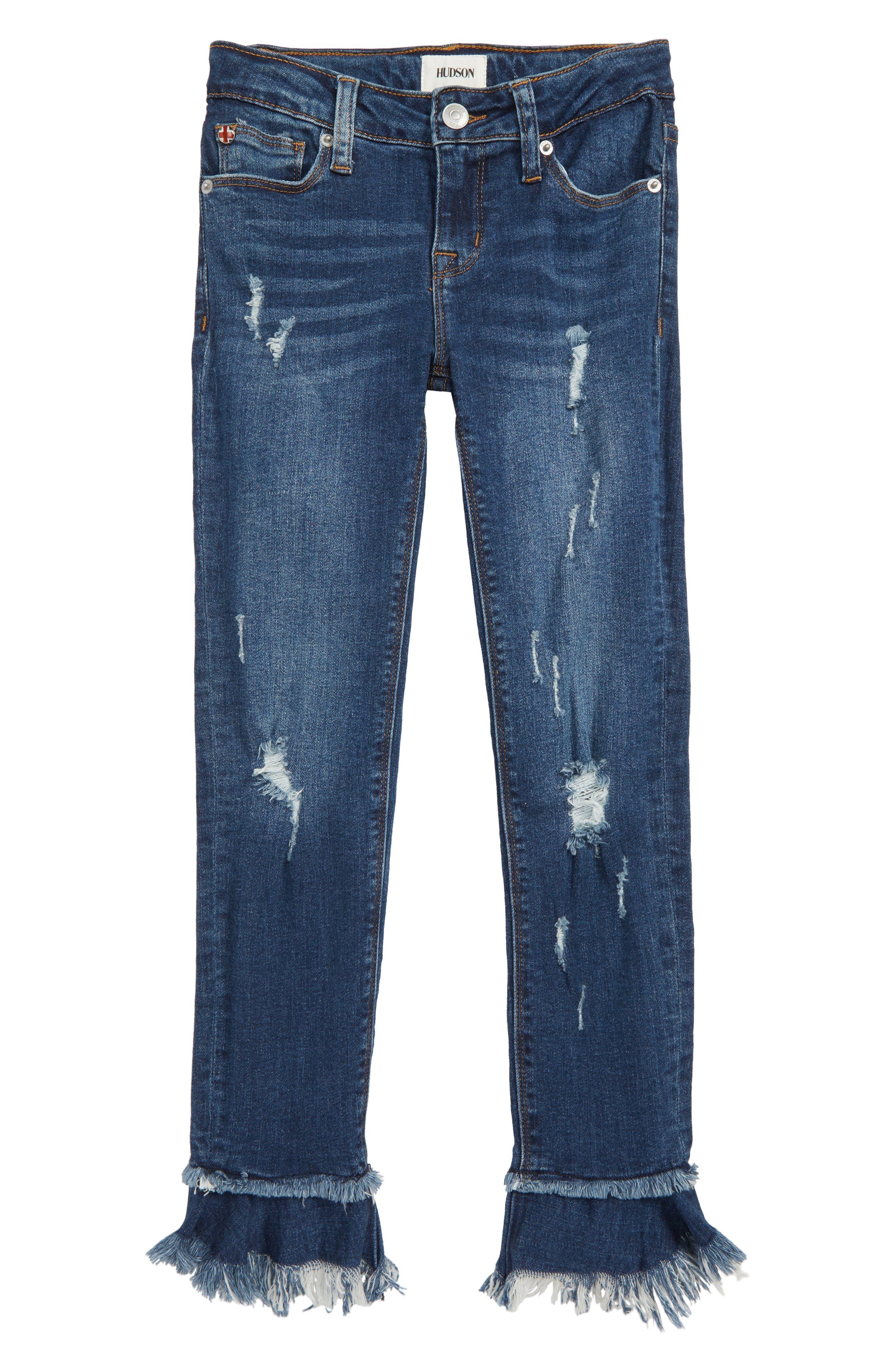 Ripped Ruffle Crop Jeans,                             Main thumbnail 1, color,                             DARK WASH