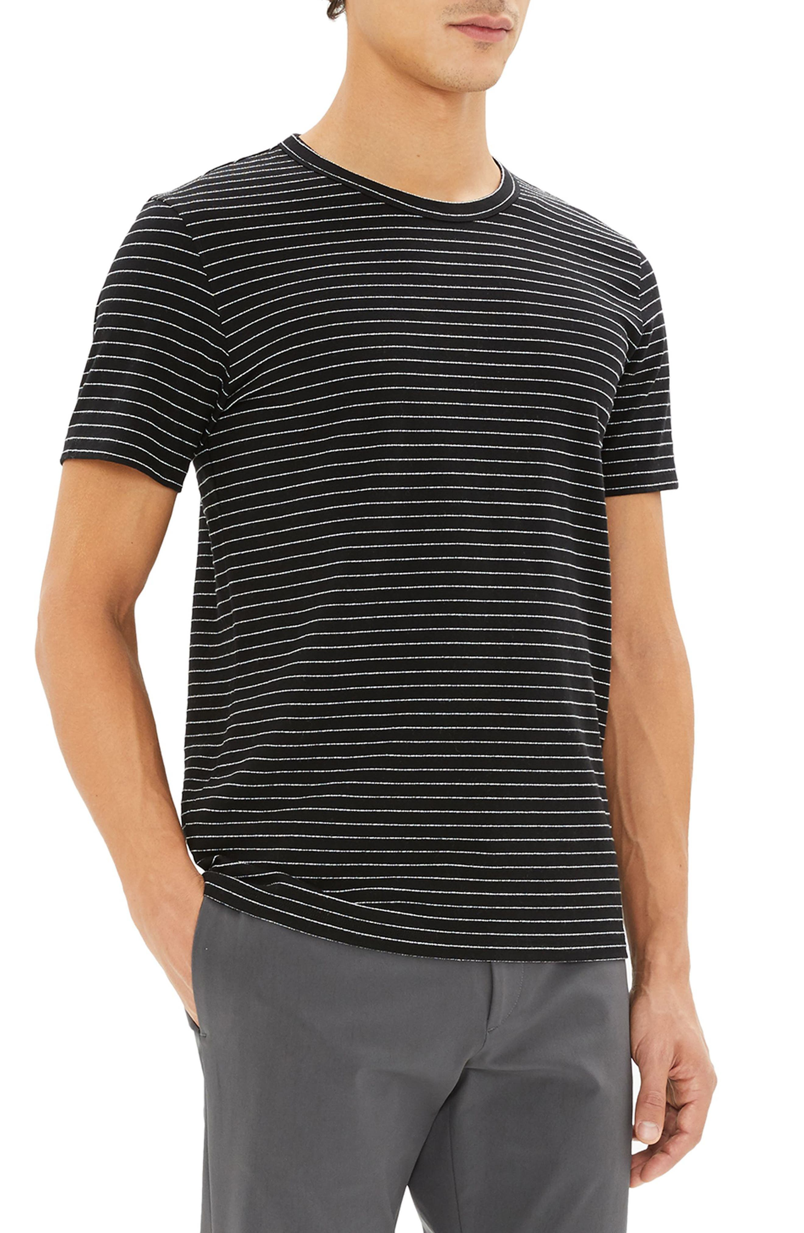 THEORY,                             Essential Striped T-Shirt,                             Alternate thumbnail 3, color,                             009